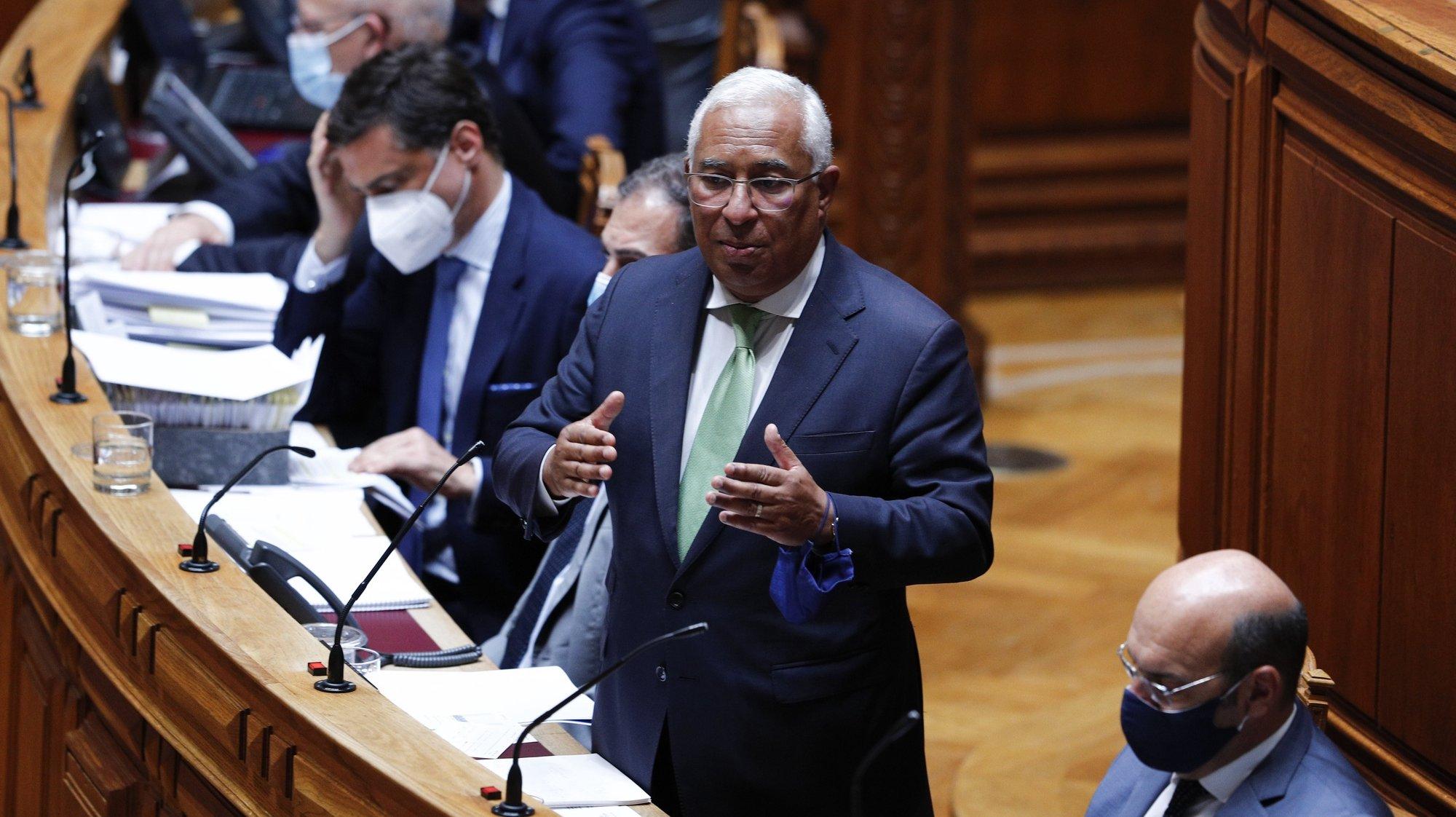 O primeiro-ministro, António Costa, intervém durante o debate parlamentar sobre o estado da Nação, na Assembleia da República, em Lisboa, 21 de julho de 2021. ANTÓNIO COTRIM/LUSA