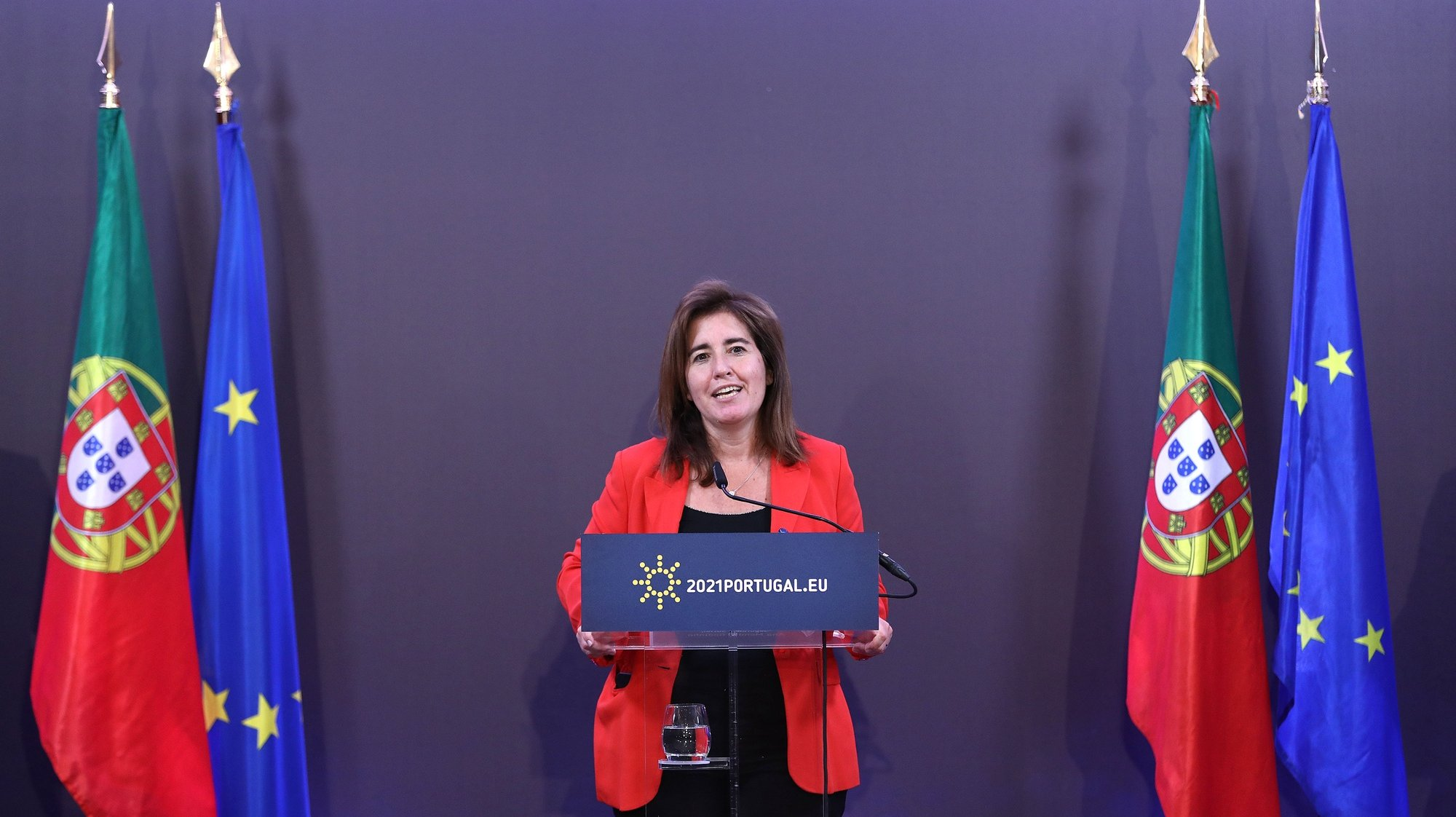 Portuguese Minister of Labour, Solidarity and Social Security Ana Mendes Godinho  attends a press conference after a High-Level Conference on the European Platform on Combating Homelessness under the Portuguese Presidency of the Council of the European Union in Lisbon, Portugal, 21 June 2021. Based on the launching of the European Platform on Combatting Homelessness, the debate will pay special attention to key areas that affect the daily lives of homelessness people and to the solutions that can help combating this situation in Europe. ANTONIO PEDRO SANTOS/LUSA