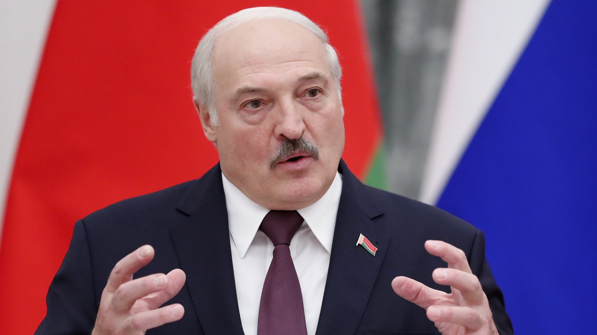 epa09458453 Belarusian President Alexander Lukashenko speaks during a news conference following talks with his Russian counterpart Vladimir Putin at the Kremlin in Moscow, Russia, 09 September 2021. Belarusian President is on a working visit in Moscow.  EPA/SHAMIL ZHUMATOV / POOL