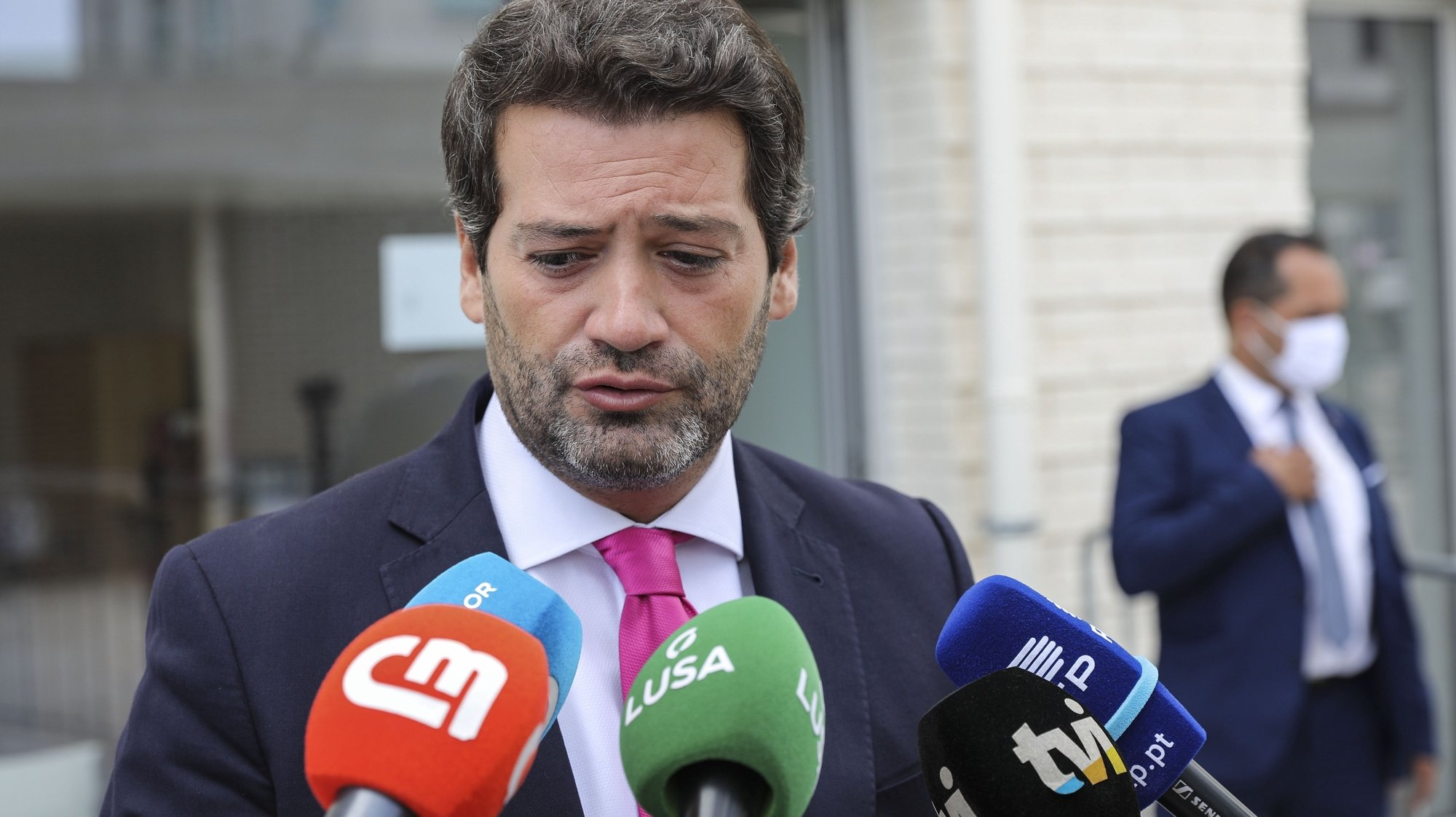 Portuguese national conservative, right-wing populist political party Chega leader André Ventura talks to the press after voting for local elections 26 septeber 2021 in Lisbon. More than 9.3 million electors can vote in the local elections in Portugal. MIGUEL A. LOPES LUSA