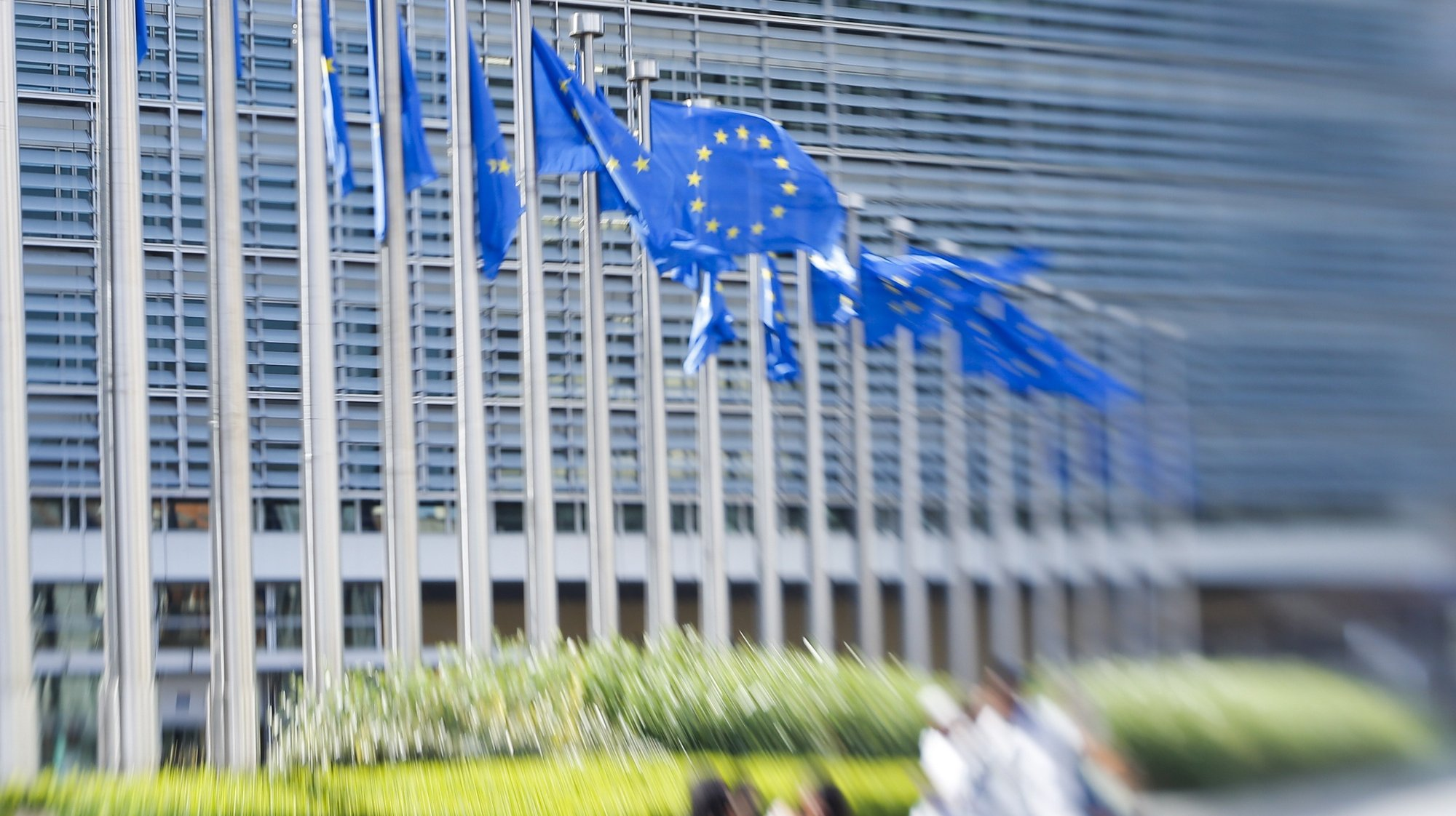 epa07239705 (FILE) - European flags in front of European Commission headquarters in Brussels, Belgium, 26 June 2018 (reissued 19 December 2018). According to a report by the New York Times, hackers have allegedly intercepted communications of European Union diplomatic staff for several years.  EPA/OLIVIER HOSLET