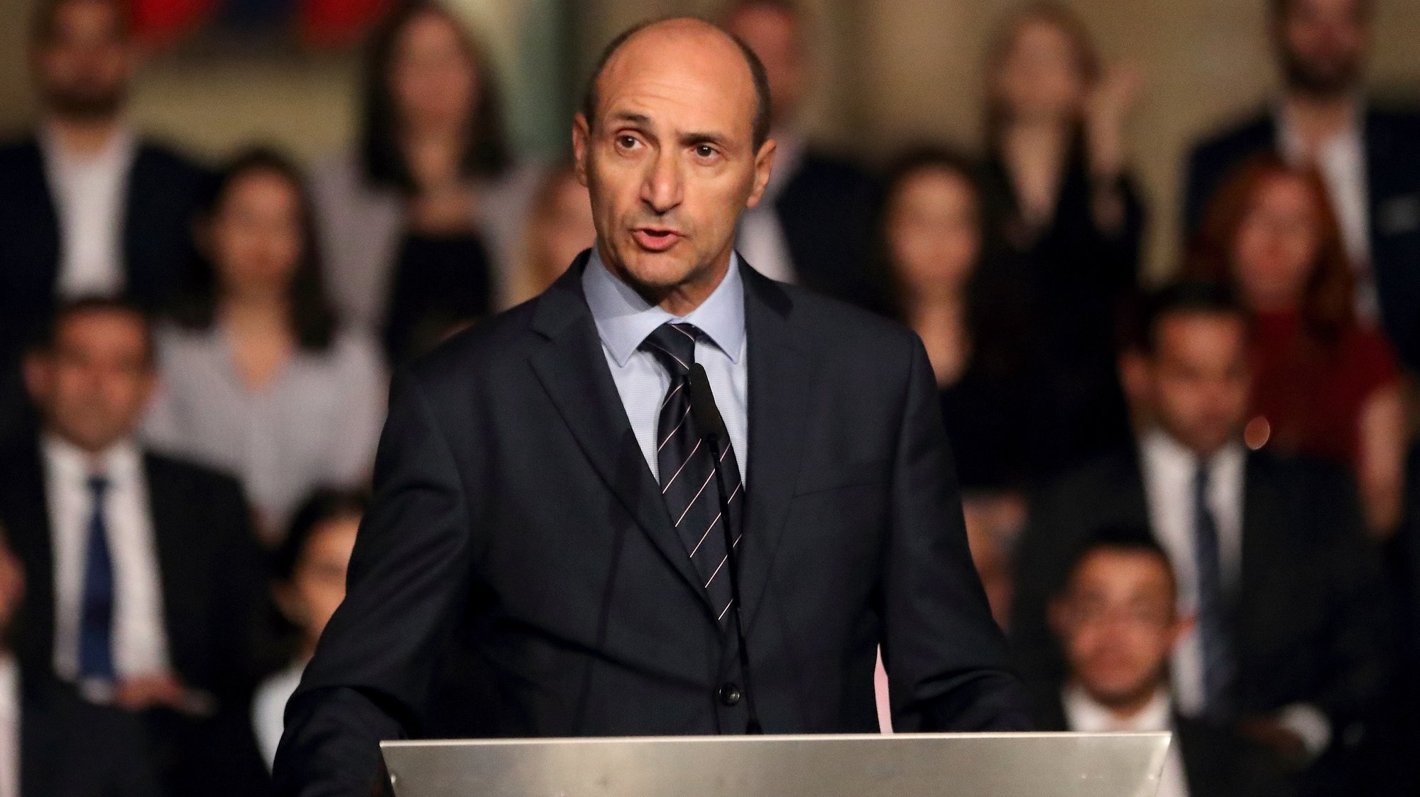 epa08049227 Malta's Deputy Prime Minister and Minister for Health, Dr. Chris Fearne speaks during a government event in Castille Place, Valletta, Malta, on 22 October, 2018 (issued 06 December 2019). Chris Fearne officially announced on 06 December 2019 that he will contest the upcoming Labour leadership (Partit Laburista) election. According to local reports, Fearner is tipped to succeed Joseph Muscat as the next Prime Minister of Malta.  EPA/DOMENIC AQUILINA