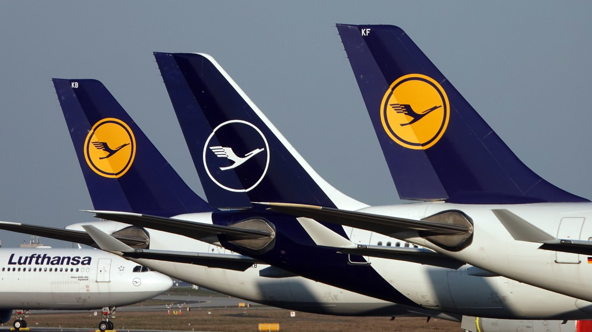 epa08798239 (FILE) - Lufthansa passenger planes parked at Frankfurt airport's northern runway in Frankfurt, Germany, 25 March 2020 at the height of Covid-19, coronavirus pandemic and restrictions (reissued 04 November 2020). Lufthansa Group are due to publish their nine month figures of 2020 on 05 November 2020.  EPA/MAURITZ ANTIN *** Local Caption *** 56160907