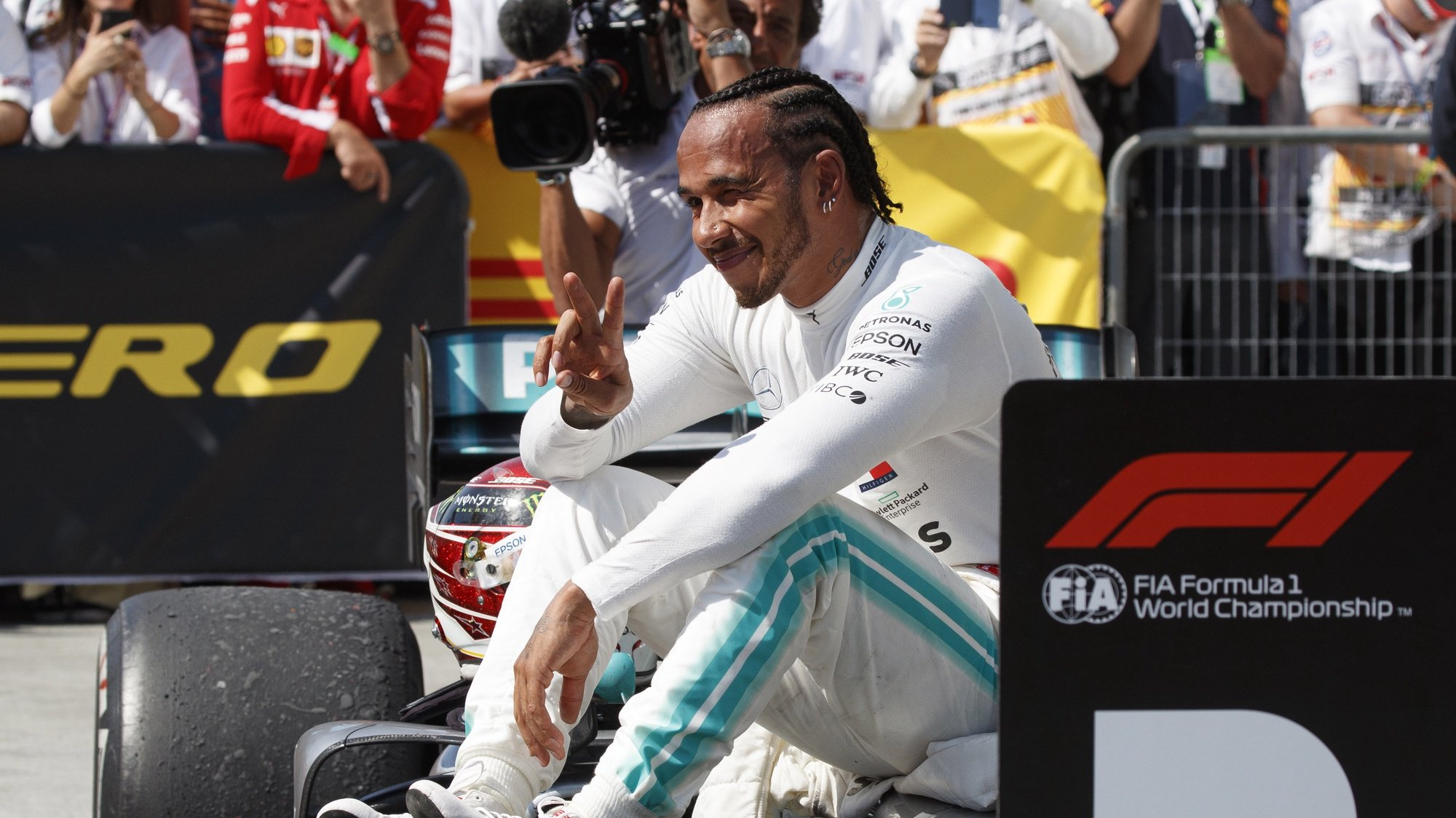 epa08996246 (FILE) - British Formula One driver Lewis Hamilton of Mercedes AMG GP reacts after winning the 2019 Canada Formula One Grand Prix at the Gilles Villeneuve circuit in Montreal, Canada, 09 June 2019, re-issued on on 08 February 2021 as Mercedes confirmed that they have signed a new contract with Hamilton for the next Formula 1 season. The contract runs for one year.  EPA/VALDRIN XHEMAJ