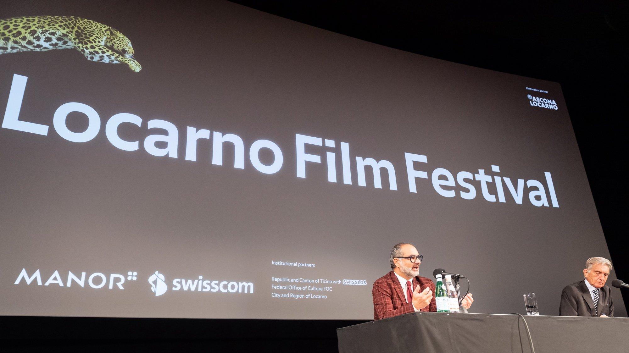 epa08799888 Giona A. Nazzaro (L) speaks during his presentation as new director of the Locarno Film Festival at a press conference in Locarno, Switzerland, 05 November 2020.  EPA/DAVIDE AGOSTA