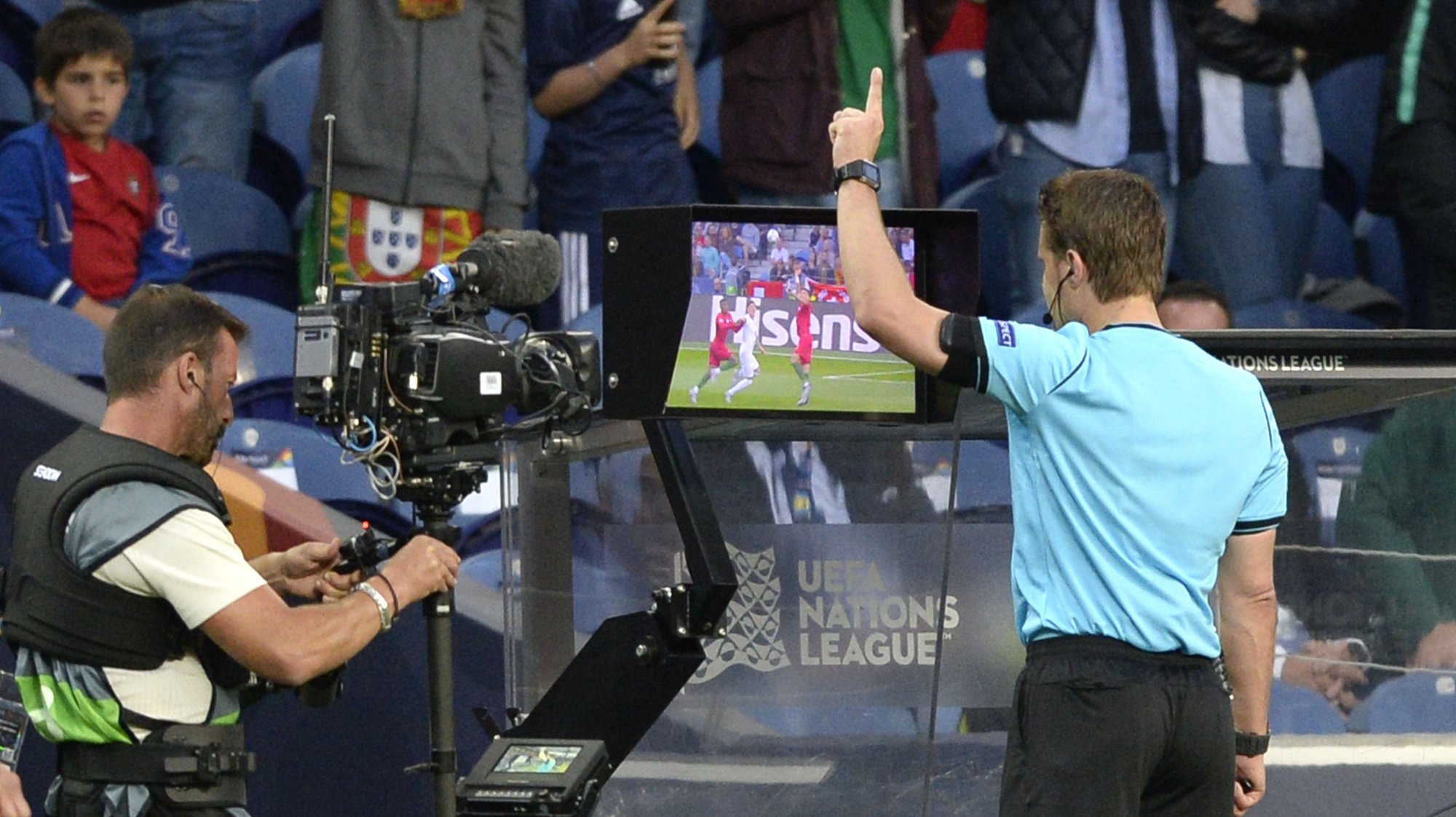 German referee Felix Brych watches the VAR during the UEFA Nations League semi final soccer match between Portugal and Switzerland, at Dragao stadium, Porto, Portugal, 05 June 2019. FERNANDO VELUDO/LUSA