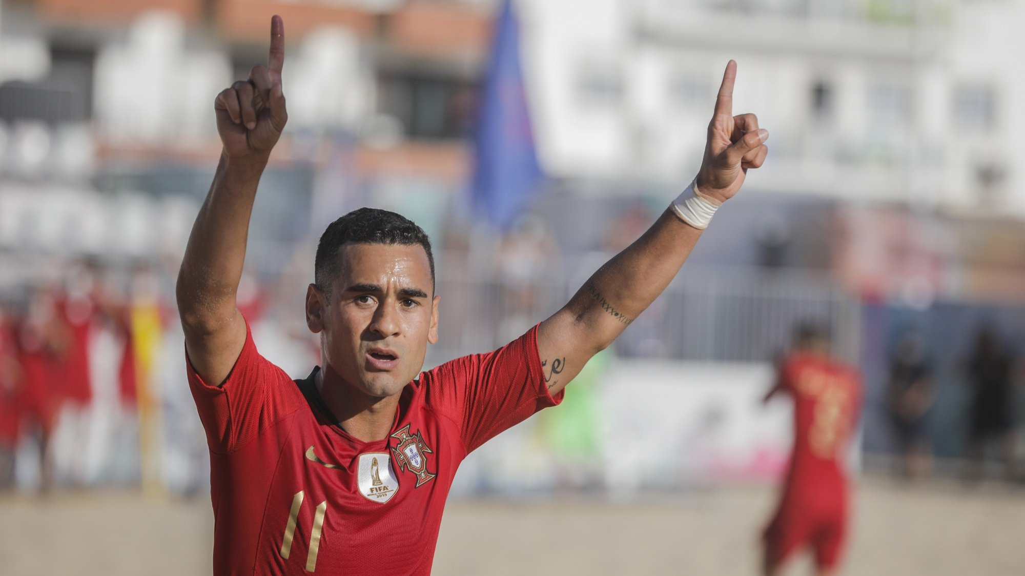 The player of the Portugal national team Leo Martins celebrates the scoring of a goal against the Swiss national team during the Superfinal of the European Beach Soccer League held at Nazare, Portugal, 6th September 2020. PAULO CUNHA/LUSA