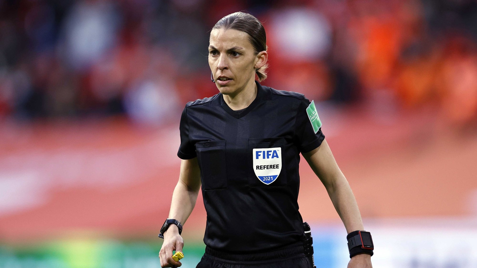 epa09101579 French referee Stephanie Frappart reacts during the FIFA World Cup 2022 qualifying match between the Netherlands and Latvia at Johan Cruijff Arena in Amsterdam, The Netherlands, 27 March 2021.  EPA/MAURICE VAN STEEN