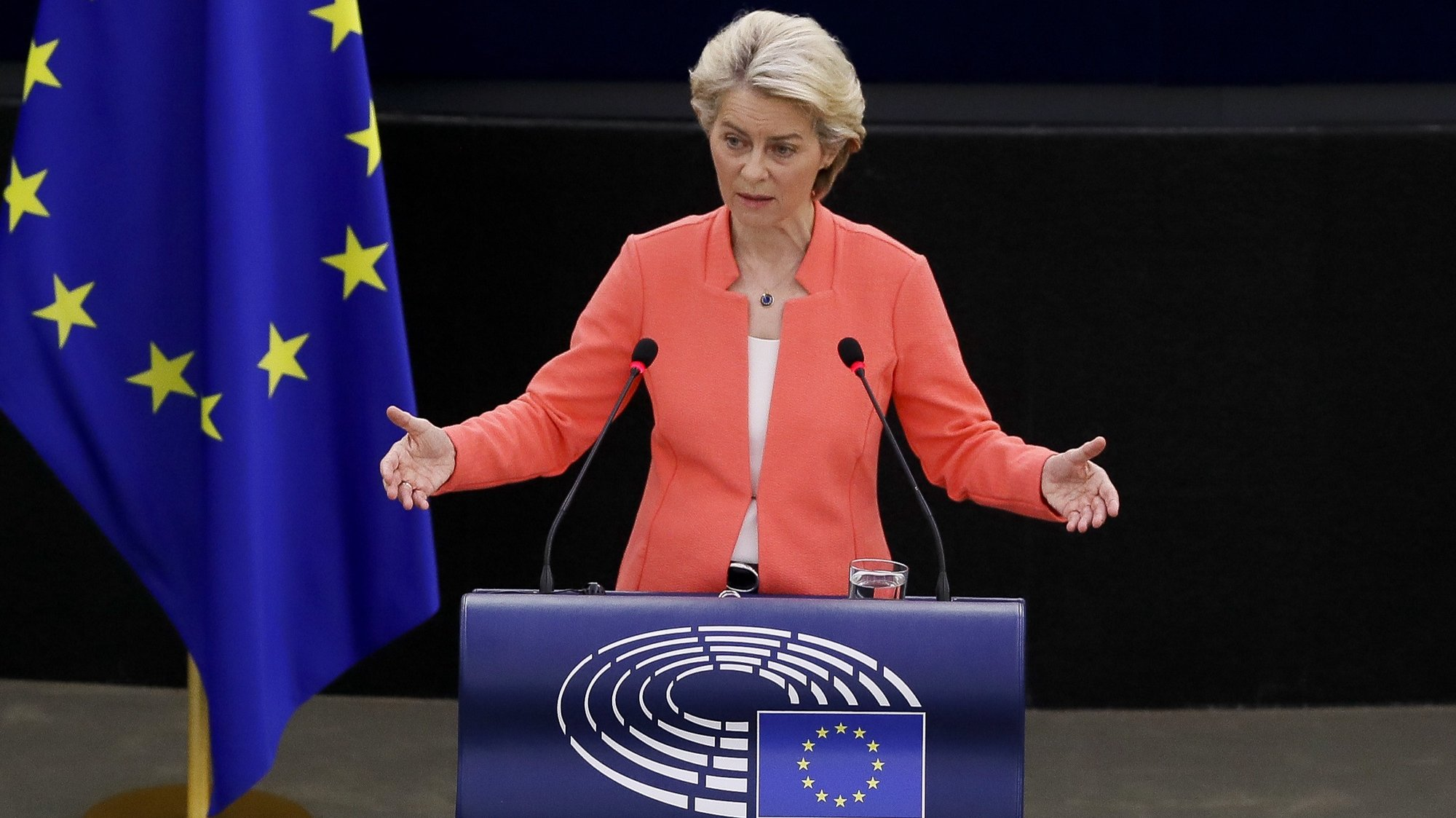 epa09469140 European Commission President Ursula von der Leyen delivers a speech during a debate on 'The State of the European Union' at the European Parliament in Strasbourg, France, 15 September 2021.  EPA/JULIEN WARNAND