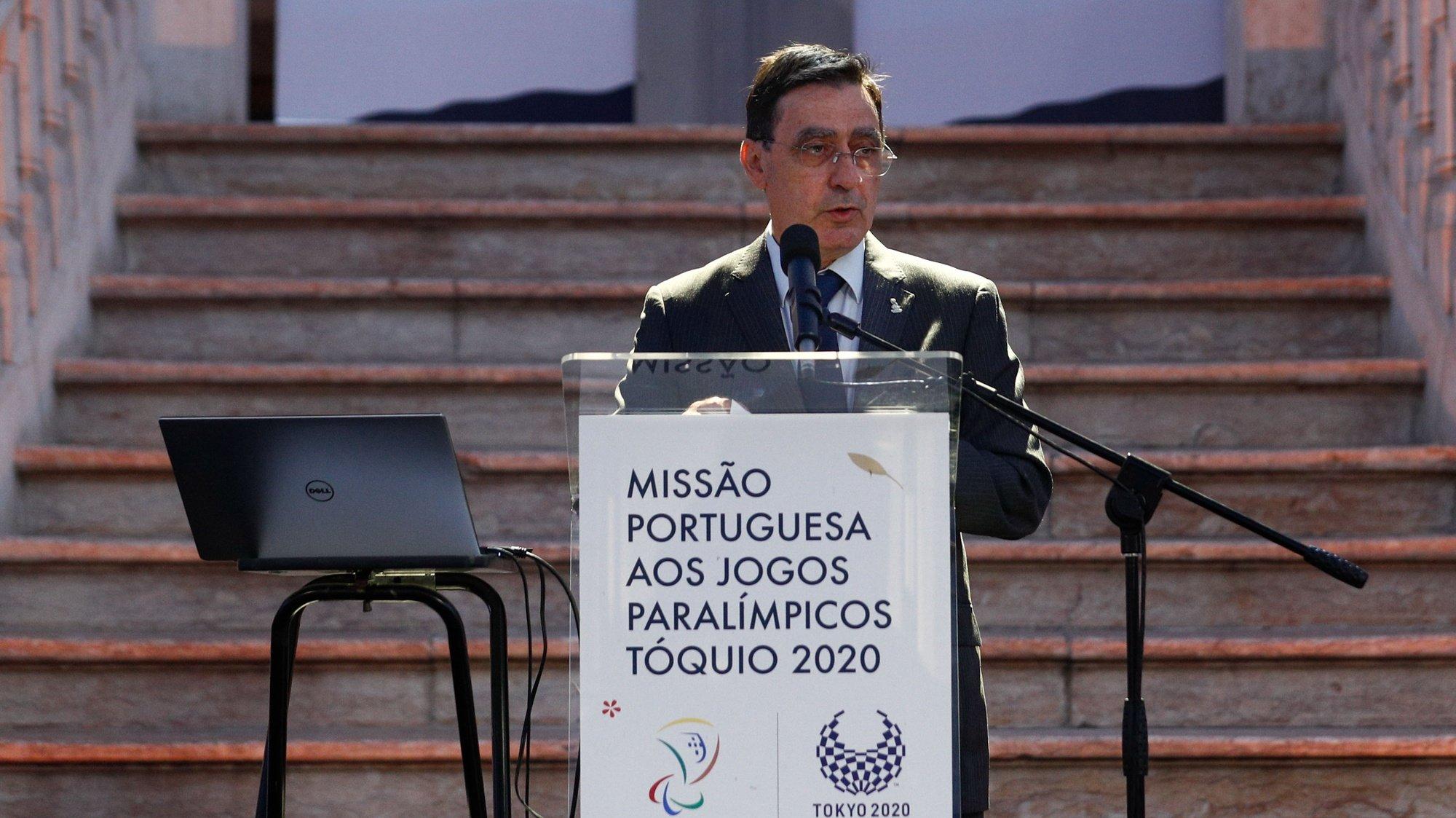 O presidente do Comité Paralímpico de Portugal, José Manuel Lourenço, discursa durante a cerimónia de apresentação da Missão Portuguesa aos Jogos Paralímpicos Tóquio 2020, com a presença dos representantes da direção da Missão Paralímpica, da comissão executiva do Comité Paralímpico de Portugal e de atletas de todas as modalidades com representação nos Jogos Paralímpicos, Loures, 16 de julho de 2021. ANTÓNIO COTRIM/LUSA