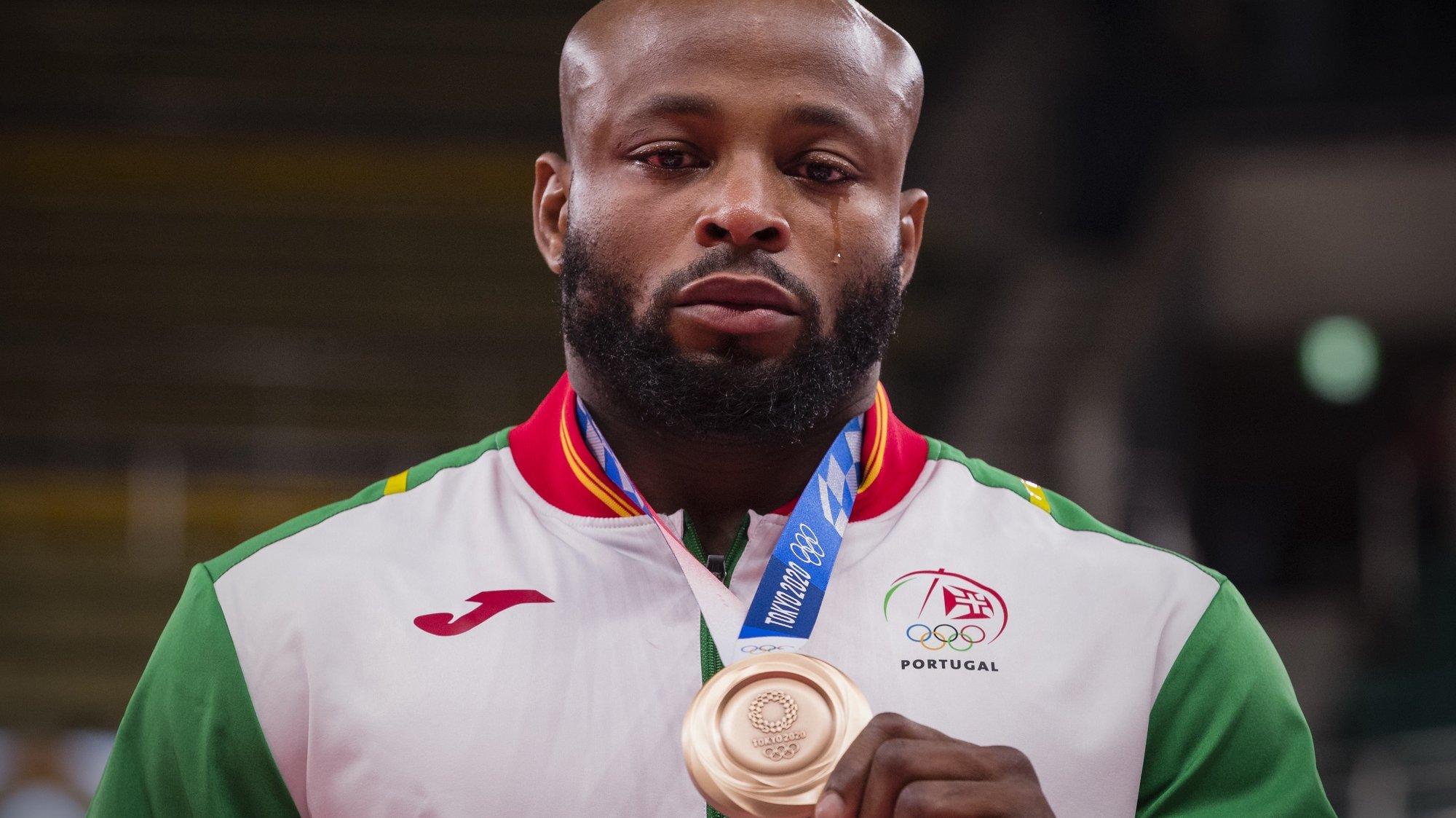 O judoca português, Jorge Fonseca conquistou a medalha de bronze na categoria de -100 kg, nos Jogos Olimpicos de Tóquio2020, no Nipon Budokan de Tóquio, Japão, 29 de julho de 2021. JOSÉ COELHO/LUSA