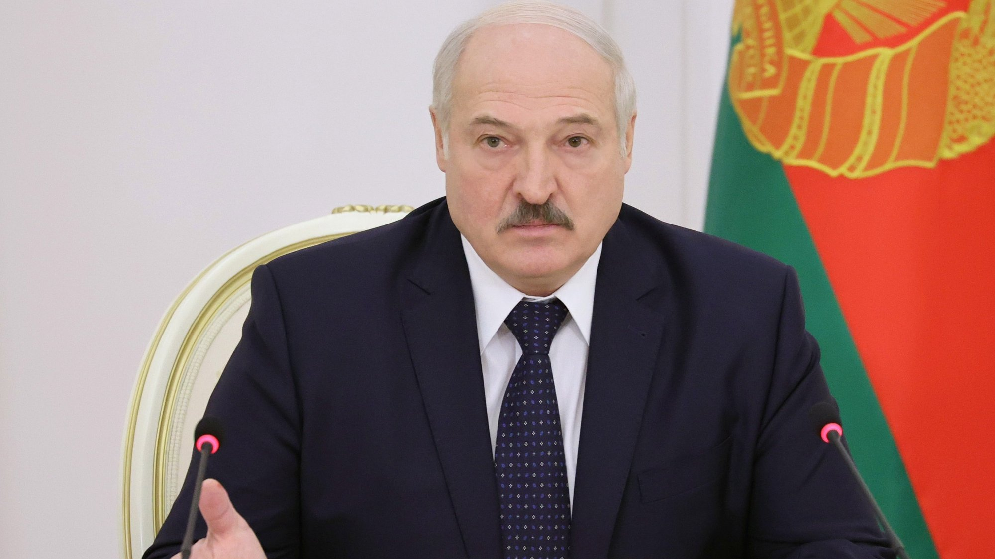 epa09318612 (FILE) Belarusian President Alexander Lukashenko talks during a meeting for economy assessment for 2020 and a draft forecast documents for 2021 in Minsk, Belarus, 07 December 2020 (reissued 02 July 2021). President Lukashenko on 02 July 2021, during a solemn meeting marking the Independence day, has ordered to close the border with Ukraine to prevent the significant incursion of weapons from Ukraine to Belarus, according to Belarusian state news agency Belta.  EPA/MAXIM GUCHEK/ POOL MANDATORY CREDIT *** Local Caption *** 56548158