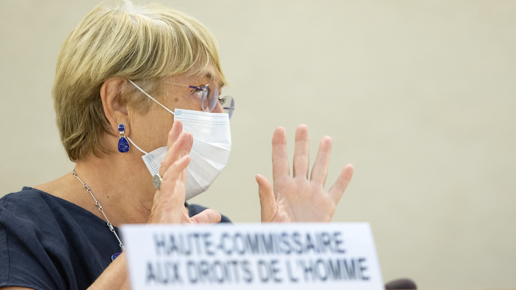 epa09465121 UN High Commissioner for Human Rights, Chilean Michelle Bachelet, gestures during the 48th session of the Human Rights Council, at the European headquarters of the United Nation, in Geneva, Switzerland, 13 September 2021.  EPA/SALVATORE DI NOLFI