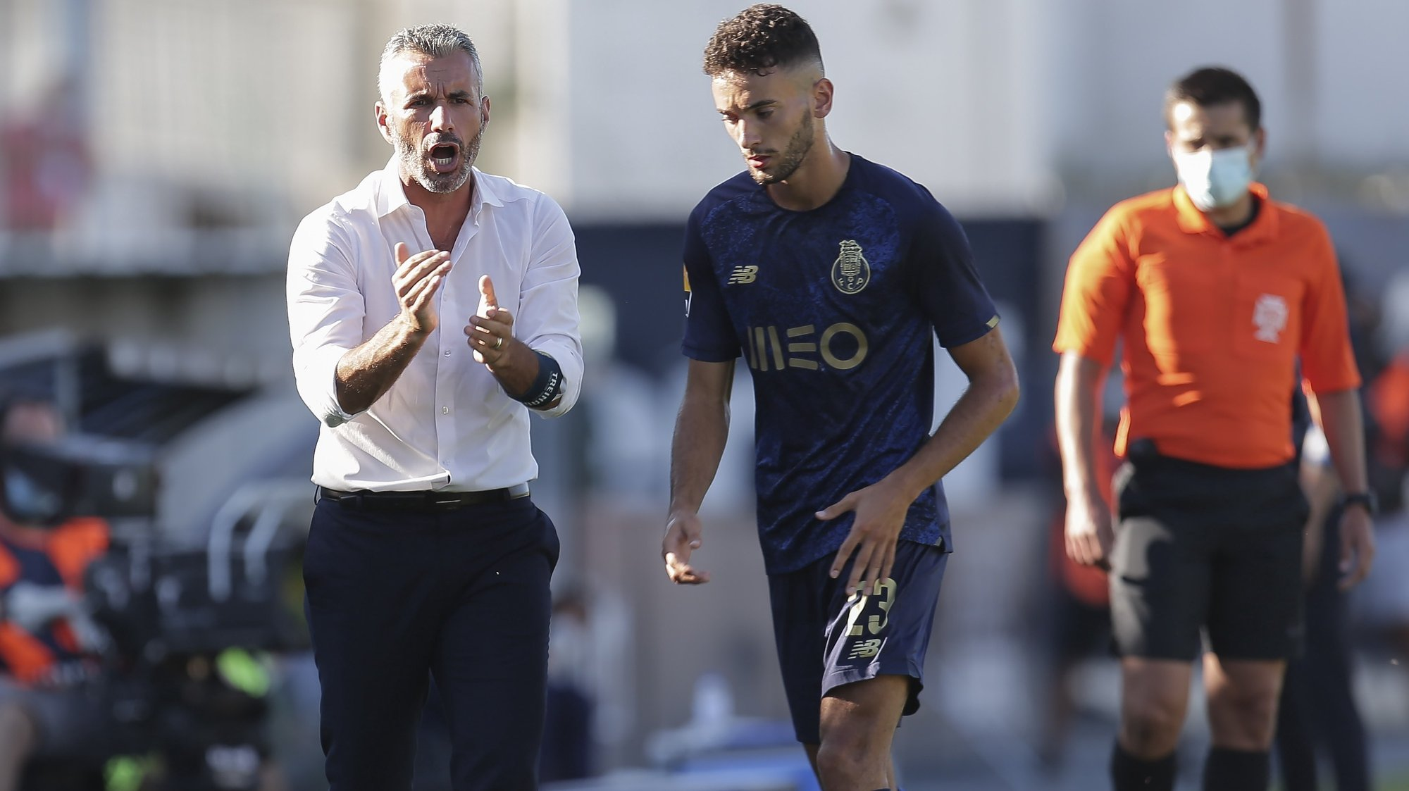 Famalicao head coach Ivo Vieira reacts during their Portuguese First League soccer match against FC Porto held at Famalicao Municipal Stadium, Portugal, 15th August 2021, MANUEL FERNANDO ARAUJO/LUSA