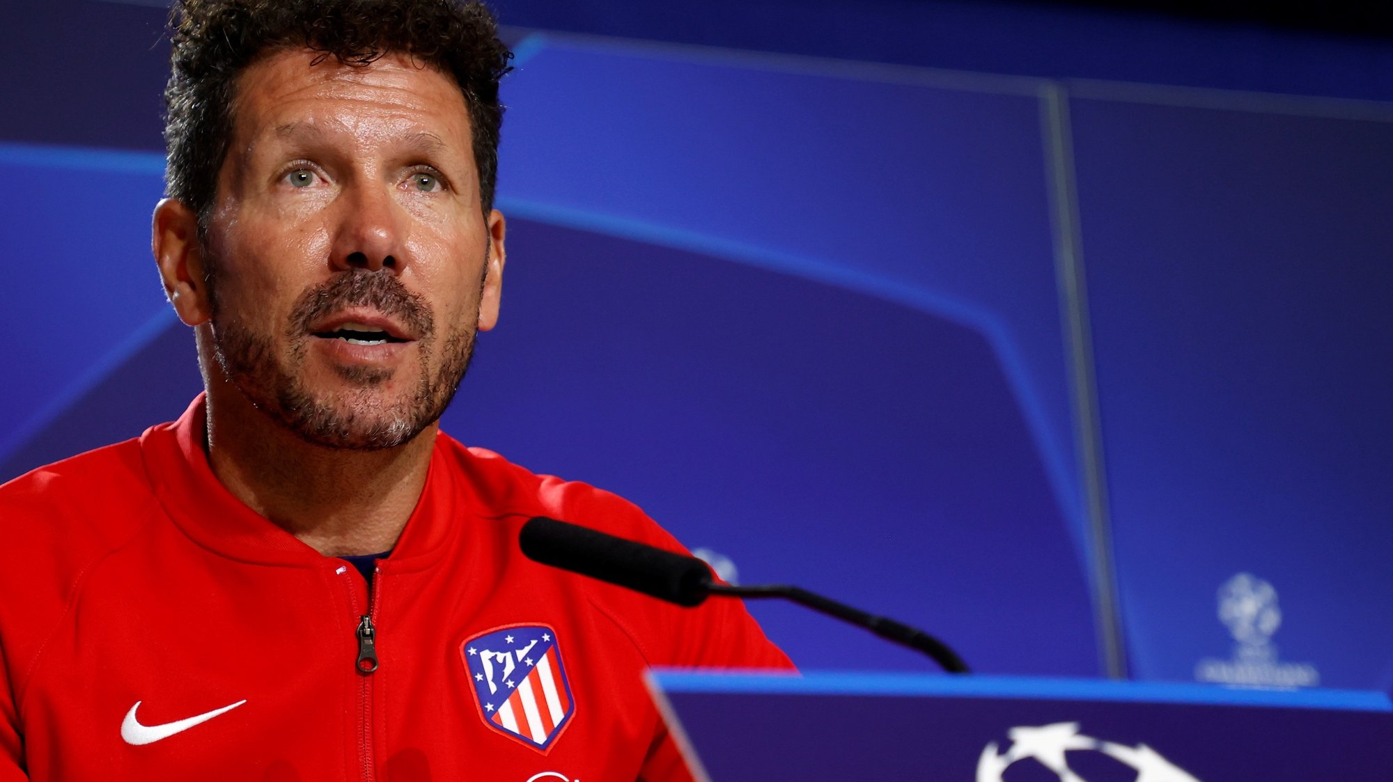 epa09467396 A handout photo made available by Spanish La Liga soccer club Atletico Madrid of head coach Diego Simeone speaking during a press conference at Metropolitano stadium in Madrid, Spain, 14 September 2021. Atletico Madrid will face FC Porto in their UEFA Champions League group B soccer match on 15 September 2021.  EPA/Atletico Madrid HANDOUT  HANDOUT EDITORIAL USE ONLY/NO SALES