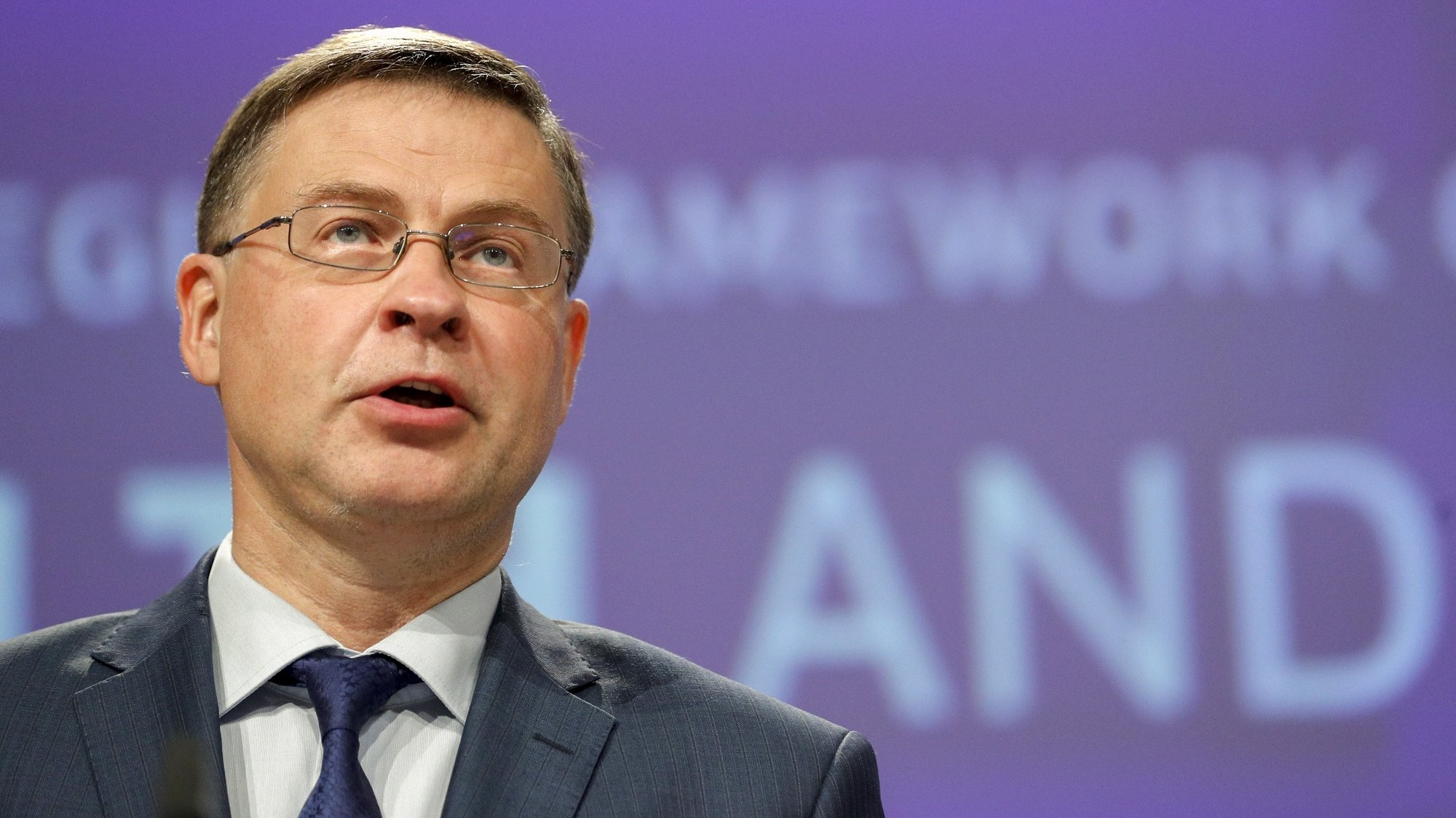 epa09307656 European Commission vice-president Valdis Dombrovskis gives a news conference with Commissioner Nicolas Schmit on communication on a new occupational safety and health strategy framework in Brussels, Belgium, 28 June 2021.  EPA/JOHANNA GERON / POOL