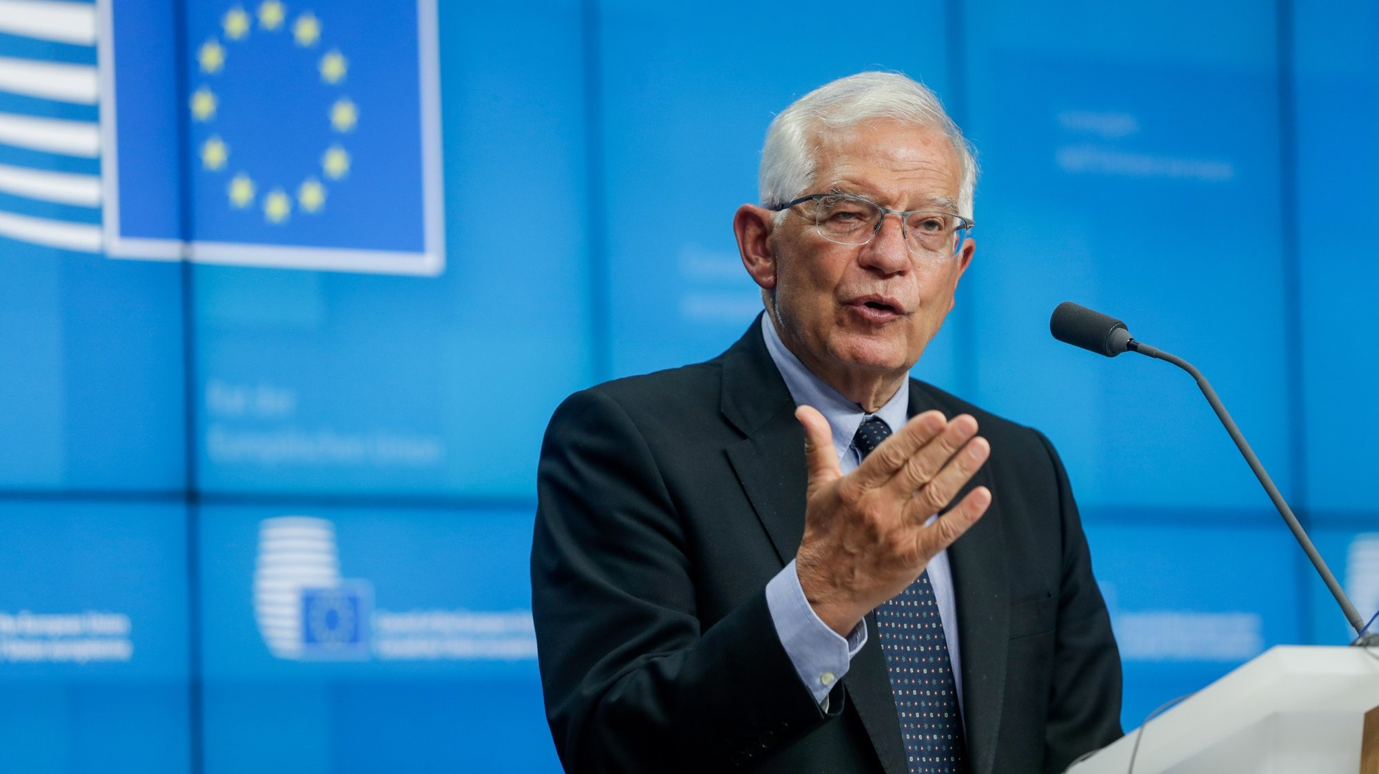 epa09340610 European Union foreign policy chief Josep Borrell gives a press conference at the end of a meeting of the EU foreign ministers, at the European Council in Brussels, Belgium, 12 July 2021.  EPA/STEPHANIE LECOCQ