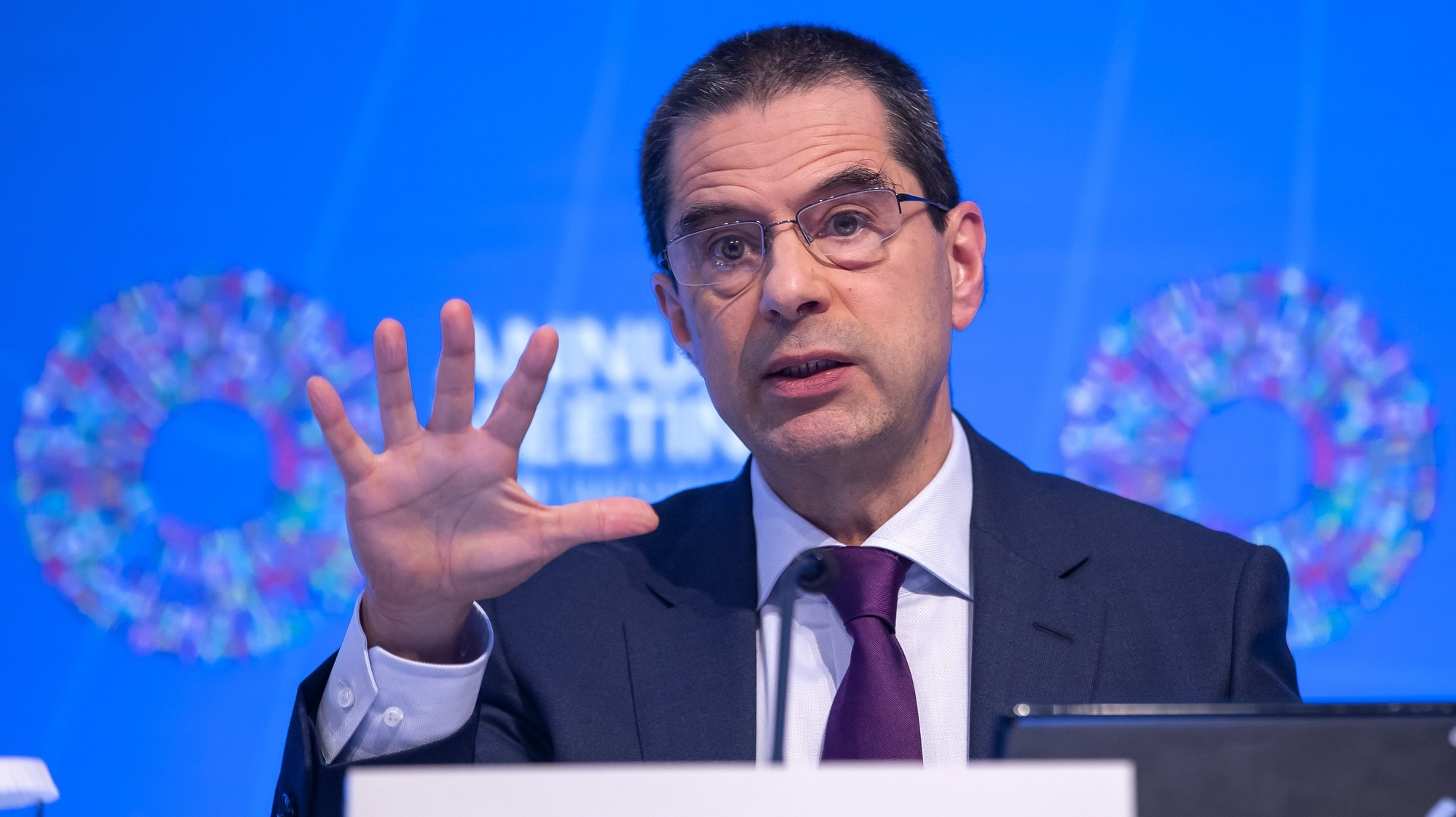 epa07925580 Vitor Gaspar, director of the Fiscal Affair Department at the International Monetary Fund participates in the Fiscal Monitor press briefing at the IMF Headquarters in Washington, DC, USA, 16 October 2019.  EPA/ERIK S. LESSER