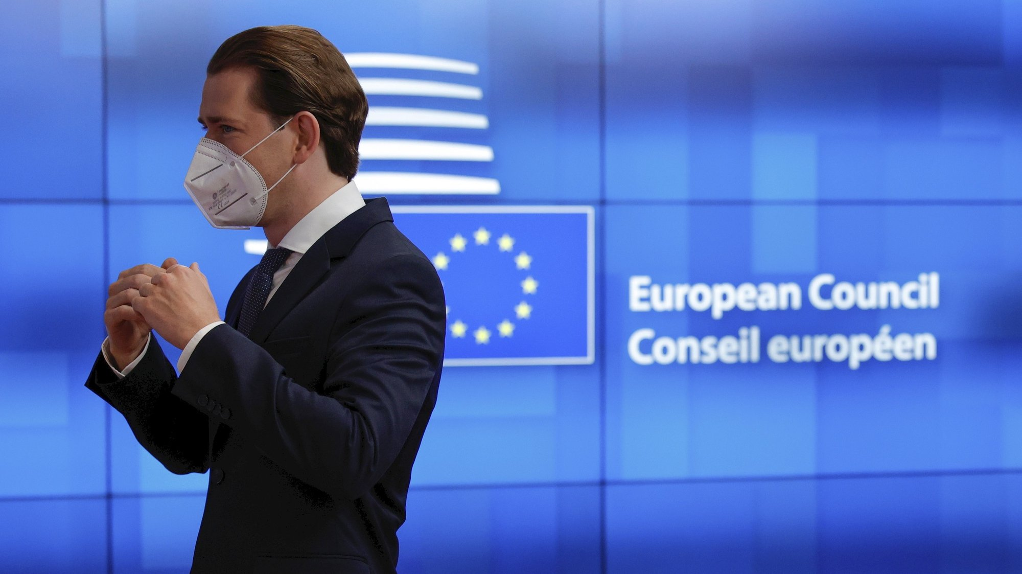 epa09300881 Austrian Chancellor Sebastian Kurz leaves at the end of an EU summit at the European Council building in Brussels, Belgium, 25 June 2021. EU leaders met in Brussels for two days to discuss COVID-19, economic recovery, migration and external relations.  EPA/OLIVIER MATTHYS / POOL