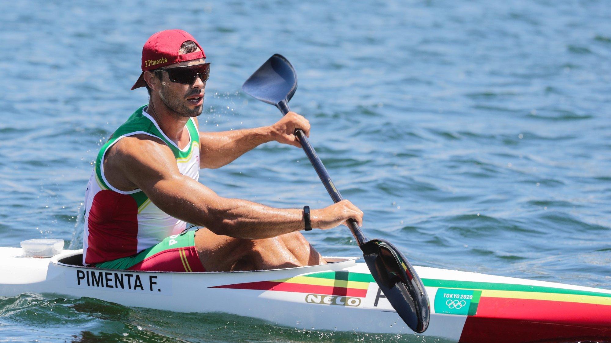 O canoista português Fernando Pimenta em ação na final de Caiaque K1 1000 metros dos Jogos Olimpicos de Tóquio2020 no Sea Forest Waterways de Tóquio, 03 de agosto de 2021. TIAGO PETINGA/LUSA