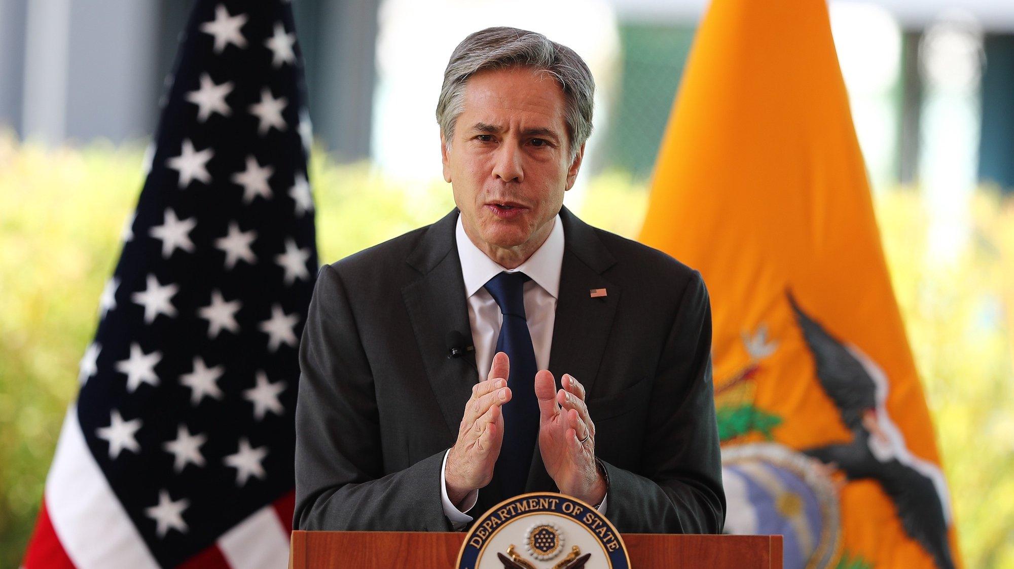 Secretário de estado dos Estados Unidos da América, Antony Blinken, fala durante uma conferência de imprensa