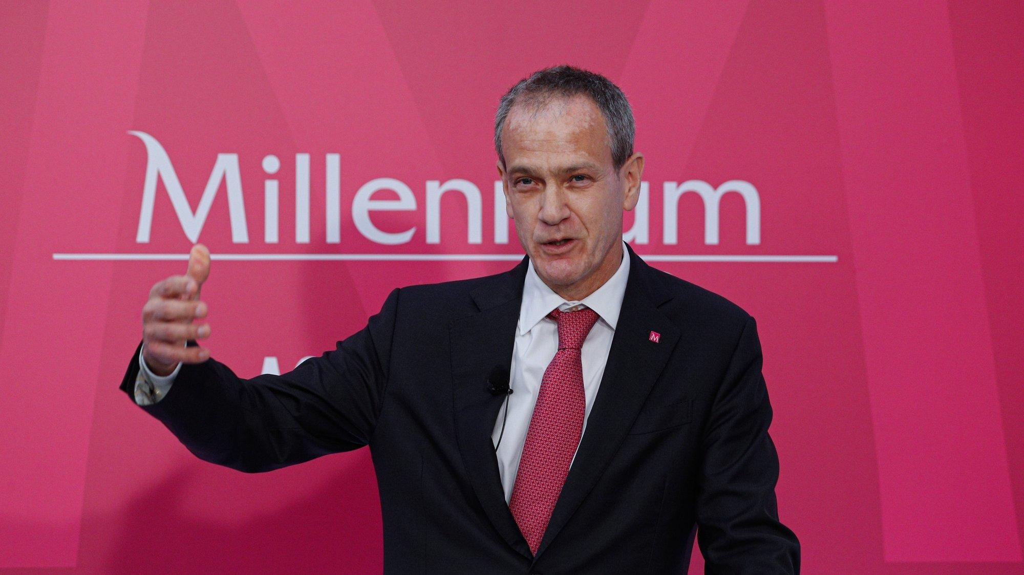 O presidente do  Millennium Bcp, Miguel Maya, durante a  apresentação dos resultados do banco durante o ano de 2020, Oeiras  25de fevereiro de 2021. ANTÓNIO COTRIM/LUSA