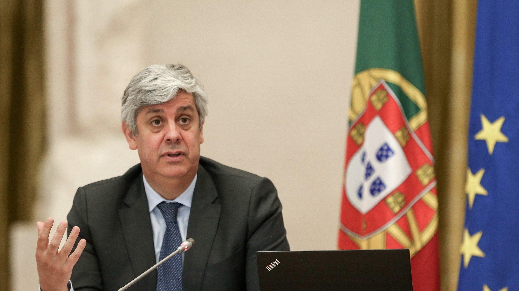 O governador do Banco de Portugal (BdP), Mário Centeno, durante a apresentação do relatório do conselho de administração de Aividade e Contas relativo a 2020, na Nave do Museu do Dinheiro do BdP, em Lisboa, 13 de maio de 2021. MANUEL DE ALMEIDA/LUSA