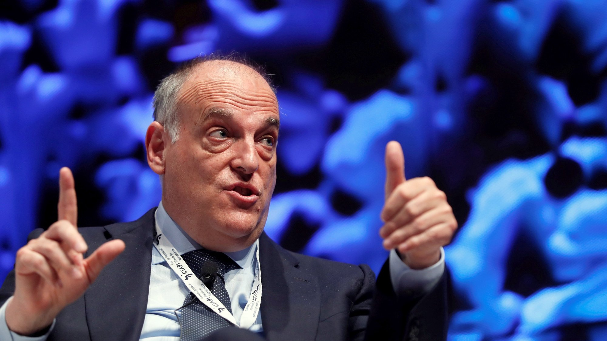 epa09206546 President of LaLiga, Spanish Soccer League, Javier Tebas takes part in  the 4th Congress of the Ibero-American Business Council Alliance (CEAPI) in Madrid, Spain, 17 May 2021.  EPA/MARISCAL