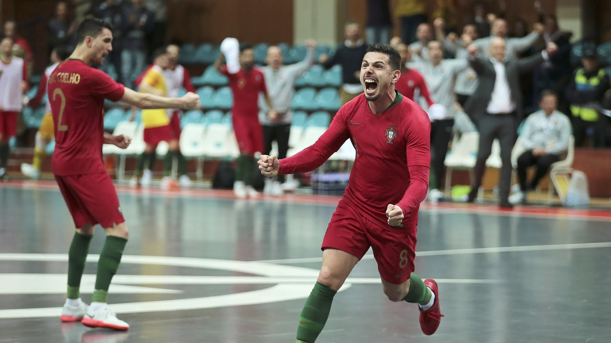 epa08183231 Portugal's Bruno Coelho celebrates after scoring a goal against Finland during their qualifying match for the World Cup Indoor Soccer 2020, at Municipal Pavilion, Povoa de Varzim, Portugal 31 January 2020.  EPA/MANUEL FERNANDO ARAUJO
