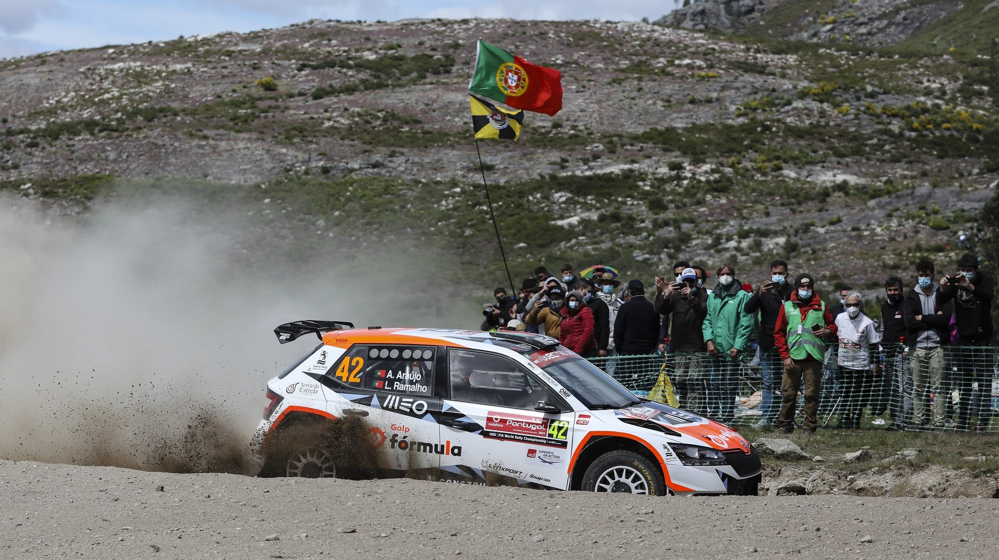 Portuguese Armindo Araujo drives his Skoda Fabia Evo WRC3 during the second day of the Rally Portugal as part of the World Rally Championship (WRC), in Vieira do Minho, Portugal, 22 May 2021. JOSE COELHO/LUSA