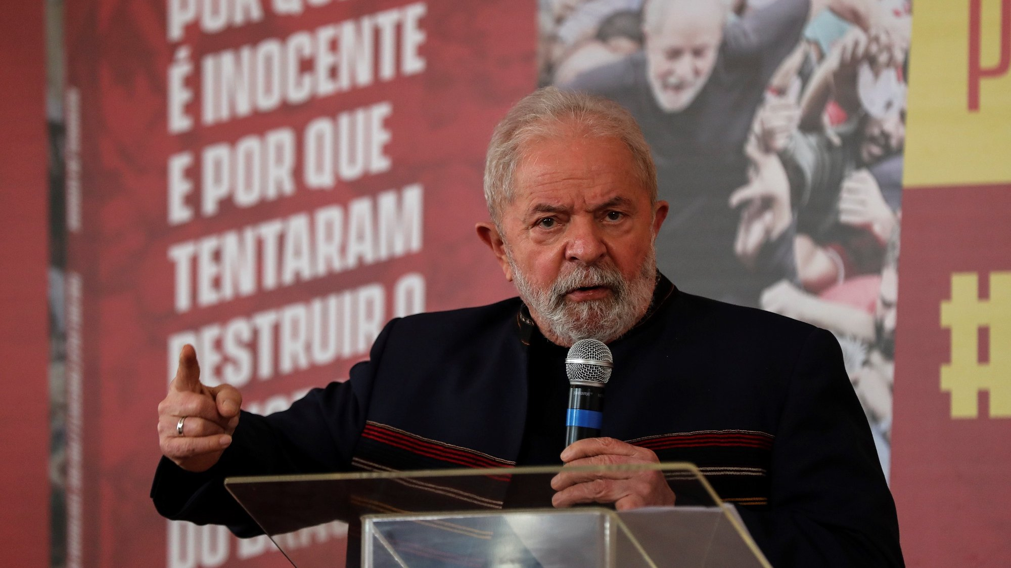 epa09411302 Former Brazilian President Luiz Inacio Lula da Silva speaks during the presentation of a book on his judicial process, in Sao Paulo, Brazil, 12 August 2021. In the book, titled 'Memorial of the Truth' Lula details first-hand the trials he faced during the case known as Operation Lava Jato.  EPA/Sebastiao Moreira
