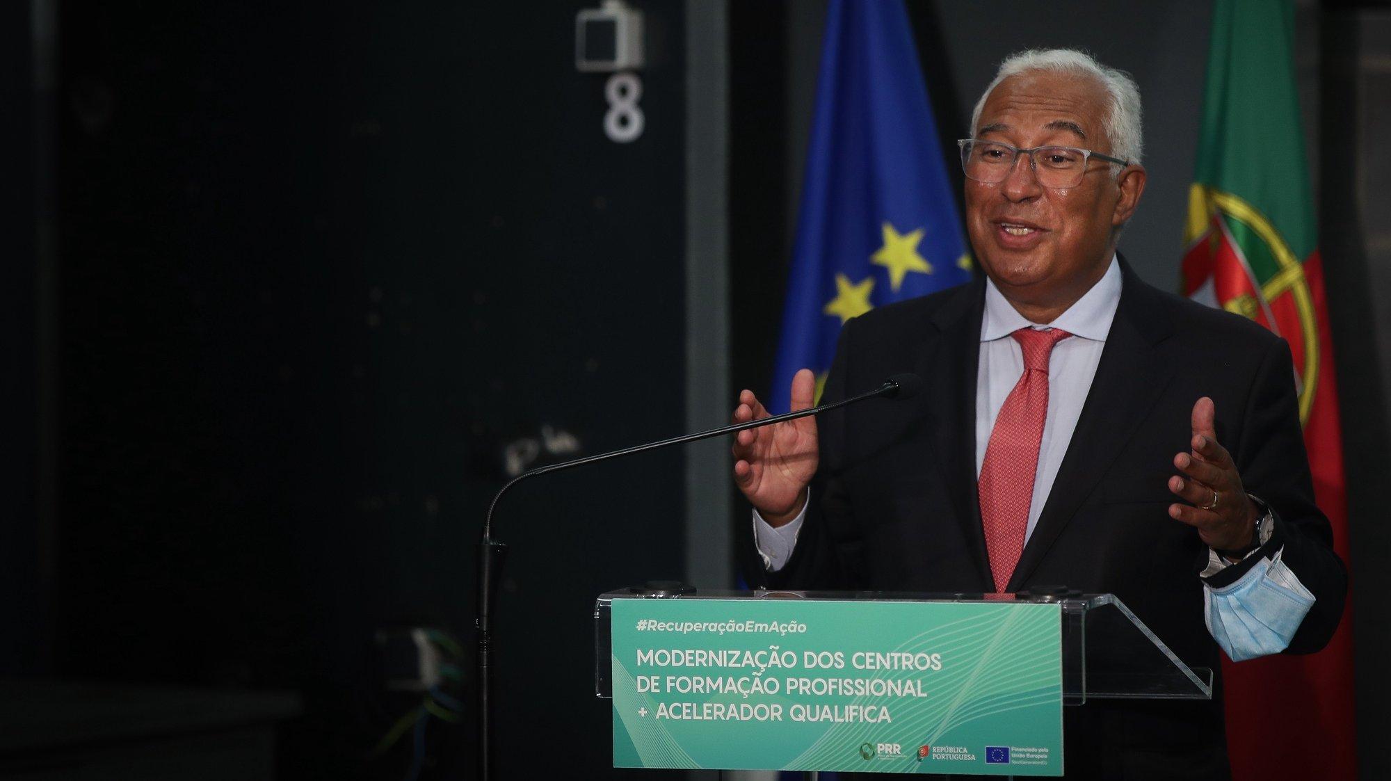 O primeiro-ministro, António Costa, participa na sessão de assinatura do Contrato da Modernização dos Centros de Formação Profissional e do Acelerador Qualifica, no âmbito da implementação do Plano de Recuperação e Resiliência, no Centro Profissional de Alverca, Alverca do Ribatejo, 7 de setembro de 2021. MÁRIO CRUZ/LUSA