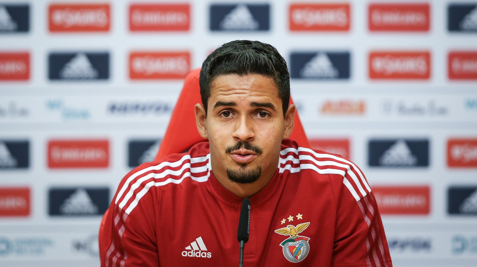 epa09407389 Benfica's player Lucas Verissimo attends a press conference at the the Seixal training center in Seixal, Portugal, 09 August 2021. Benfica will face Spartak Moscow in their UEFA Champions League Third qualifying round, second leg soccer match at Luz stadium in Lisbon on 10 August 2021.  EPA/RODRIGO ANTUNES