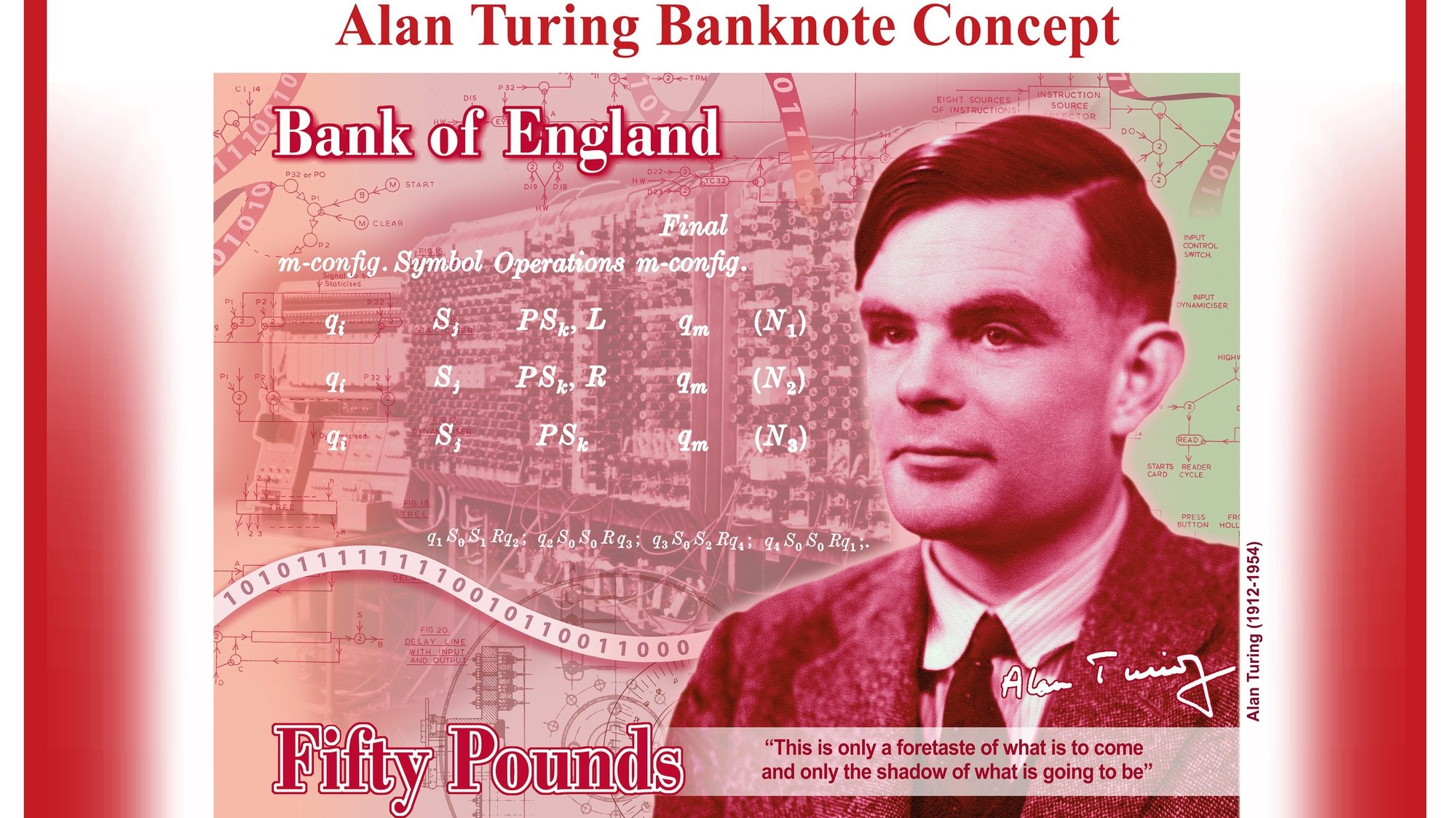 """epa07718246 An undated handout photo made available by the British Bank of England on 15 July 2019 showing the new concept image design of the Bank of England's 50 GBP note featuring British computer pioneer and codebreaker Alan Turing. Bank of England Governor, Mark Carney, announced that Alan Turing will appear on the new polymer note. Alan Turing was an outstanding mathematician whose work has had an enormous impact on how we live today. As the father of computerscience and artificial intelligence, as well as war hero, Alan Turing's contributions were far ranging and path breaking. Turing is a giant on whose shoulders so many now stand.""""Alan Turing provided the theoretical underpinnings for the modern computer. While best known for his work devising code-breaking machines during WWII, Turing played a pivotal role in the development of early computers first at the National Physical Laboratory and later at the University of Manchester. EPA/BANK OF ENGLAND / HANDOUT MANDATORY CREDIT HANDOUT EDITORIAL USE ONLY/NO SALES"""