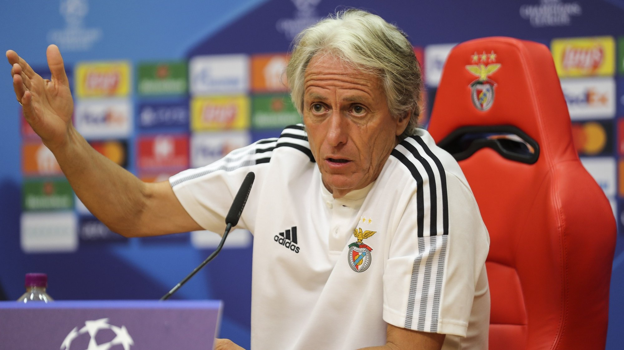 Benfica's head coach Jorge Jesus during the press conference at Benfica's training camp in Seixal prior to tomorrows Champion League group E soccer match against Dinamo Kyiv, Seixal, Portugal, 13 of September 2021.  MIGUEL A. LOPES/LUSA