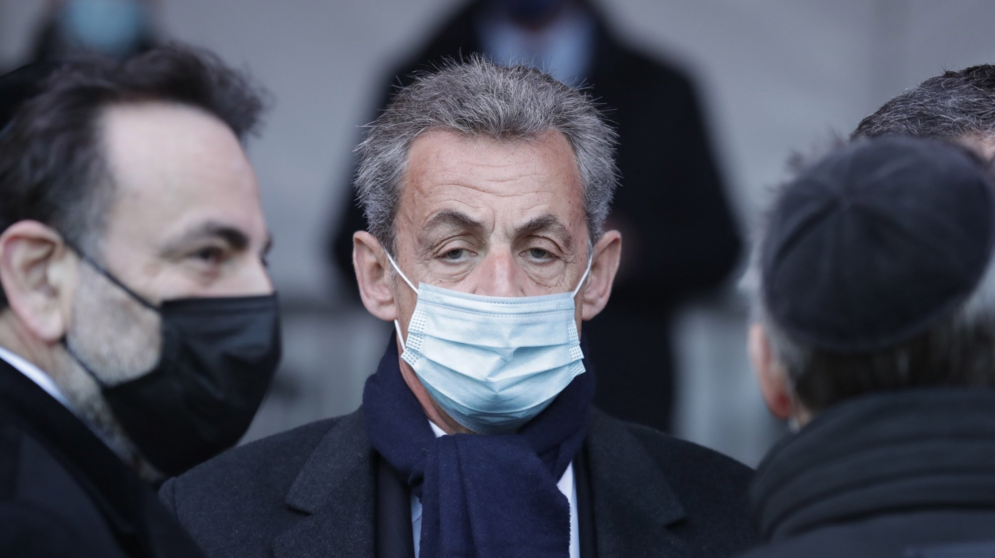 epa09066962 Former French President Nicolas Sarkozy waits before a ceremony paying homage to the victims of terrorism at the Invalides monument in Paris, France, 11 March 2021.  EPA/Thibault Camus / POOL MAXPPP OUT