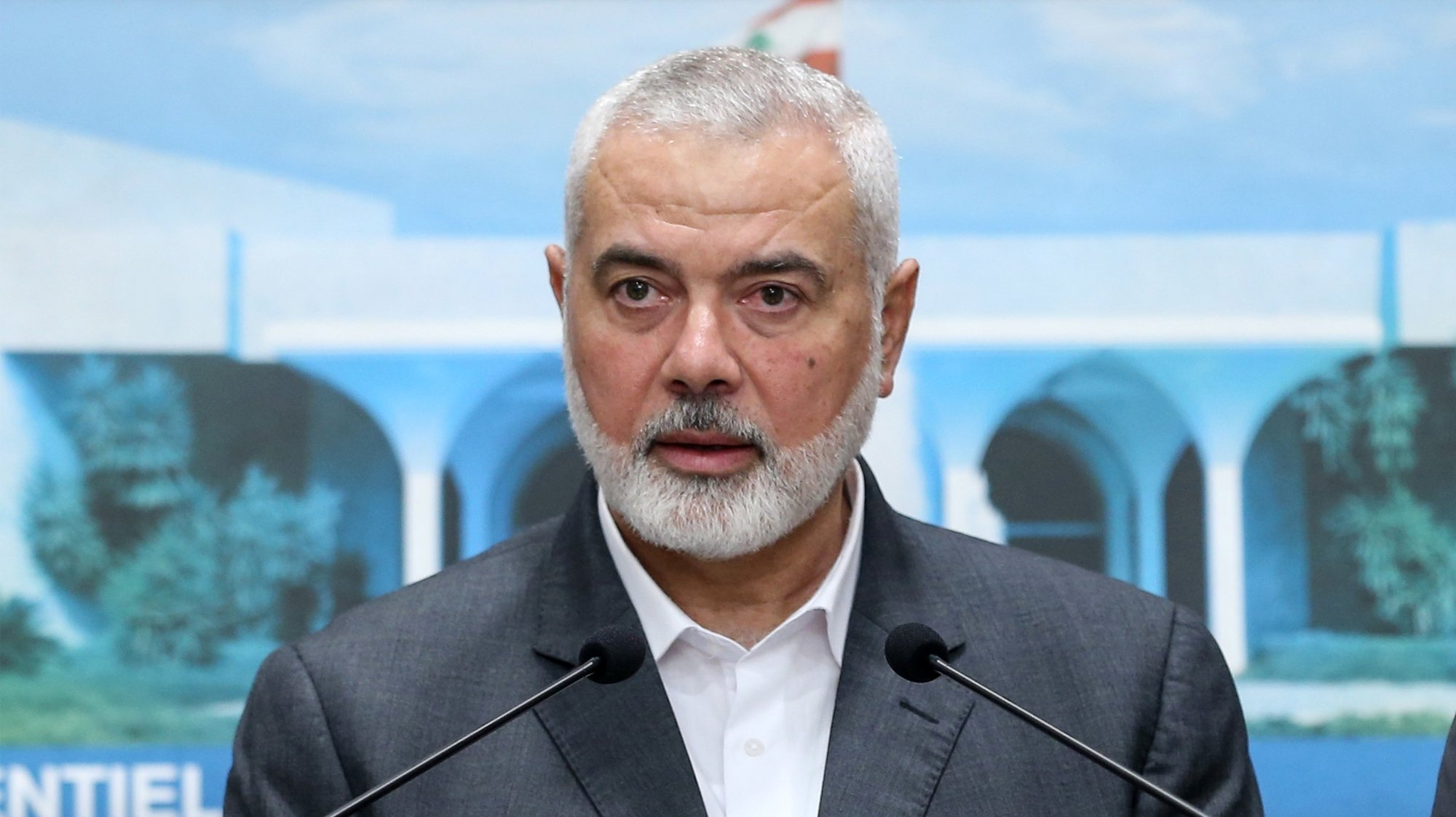 epa09307311 A handout photo made available by the Official Photography of the Lebanese Government Dalati Nohra shows Senior Political Leader of Hamas movement Ismail Haniyeh speaks to media after his meeting with the Lebanese President Michel Aoun at the presidential palace in Baabda east of Beirut, Lebanon, 28 June 2021. Ismail Haniyeh arrived in an official visit to Lebanon, to discuss the situation of the displaced Palestinians  during the economic and political crisis in Lebanon.  EPA/DALATI NOHRA HANDOUT  HANDOUT EDITORIAL USE ONLY/NO SALES