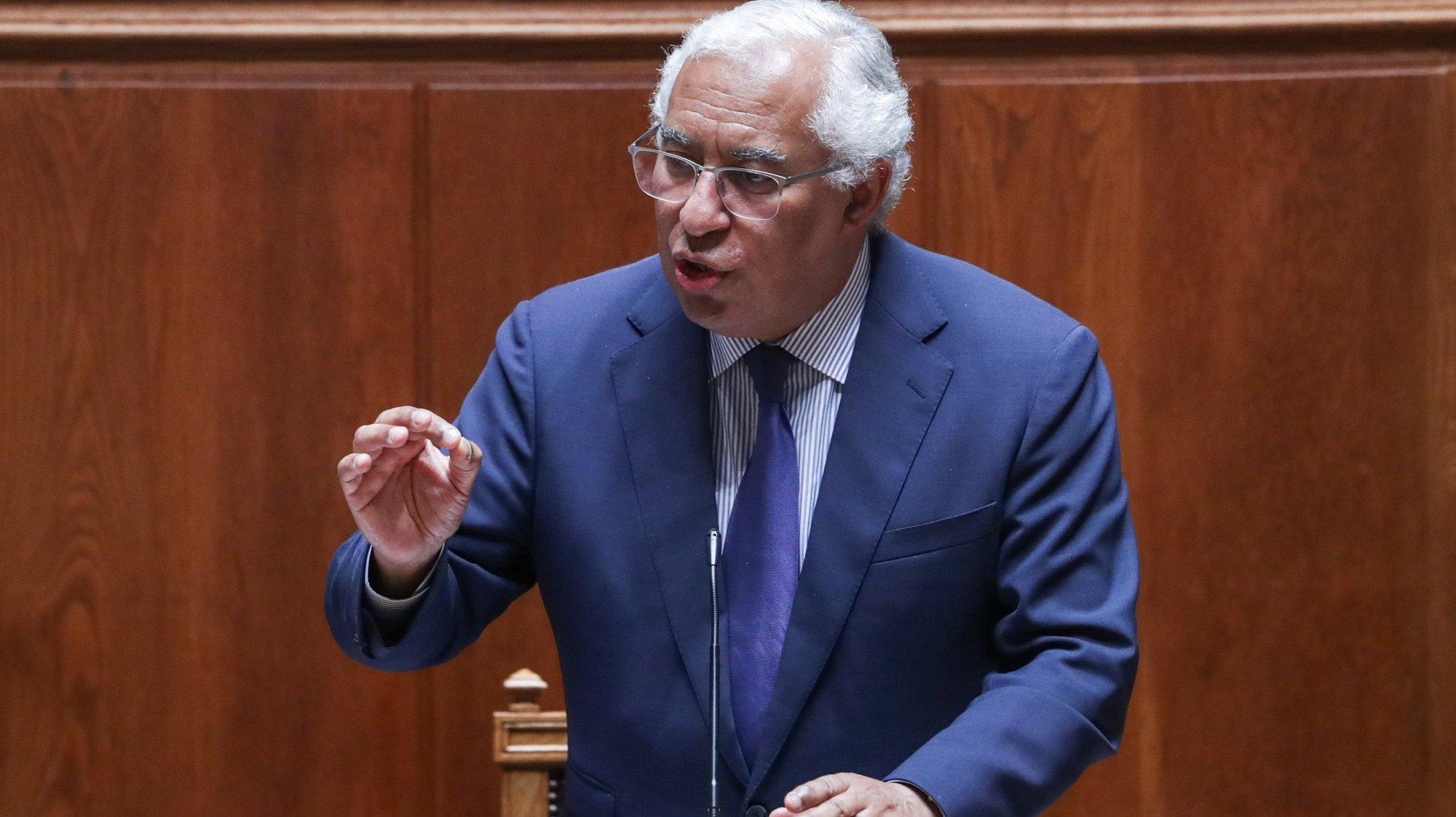 O primeiro-ministro, António Costa, intervém durante o primeiro debate bimestral com a presença do chefe do Governo, na Assembleia da República, em Lisboa, 12 de maio de 2021. TIAGO PETINGA/LUSA