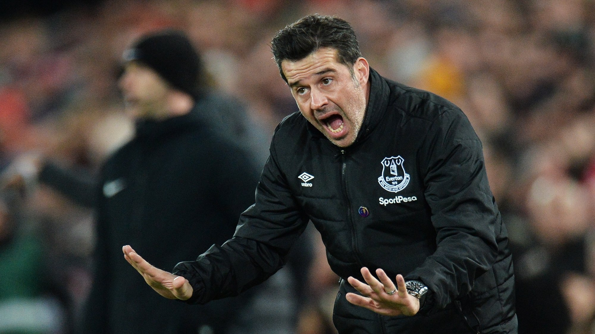 epa08044966 Everton manager Marco Silva gestures on the touchline during the English Premier League soccer match between Liverpool FC and Everton in Liverpool, Britain, 04 December 2019.  EPA/Peter Powell EDITORIAL USE ONLY. No use with unauthorized audio, video, data, fixture lists, club/league logos or 'live' services. Online in-match use limited to 120 images, no video emulation. No use in betting, games or single club/league/player publications