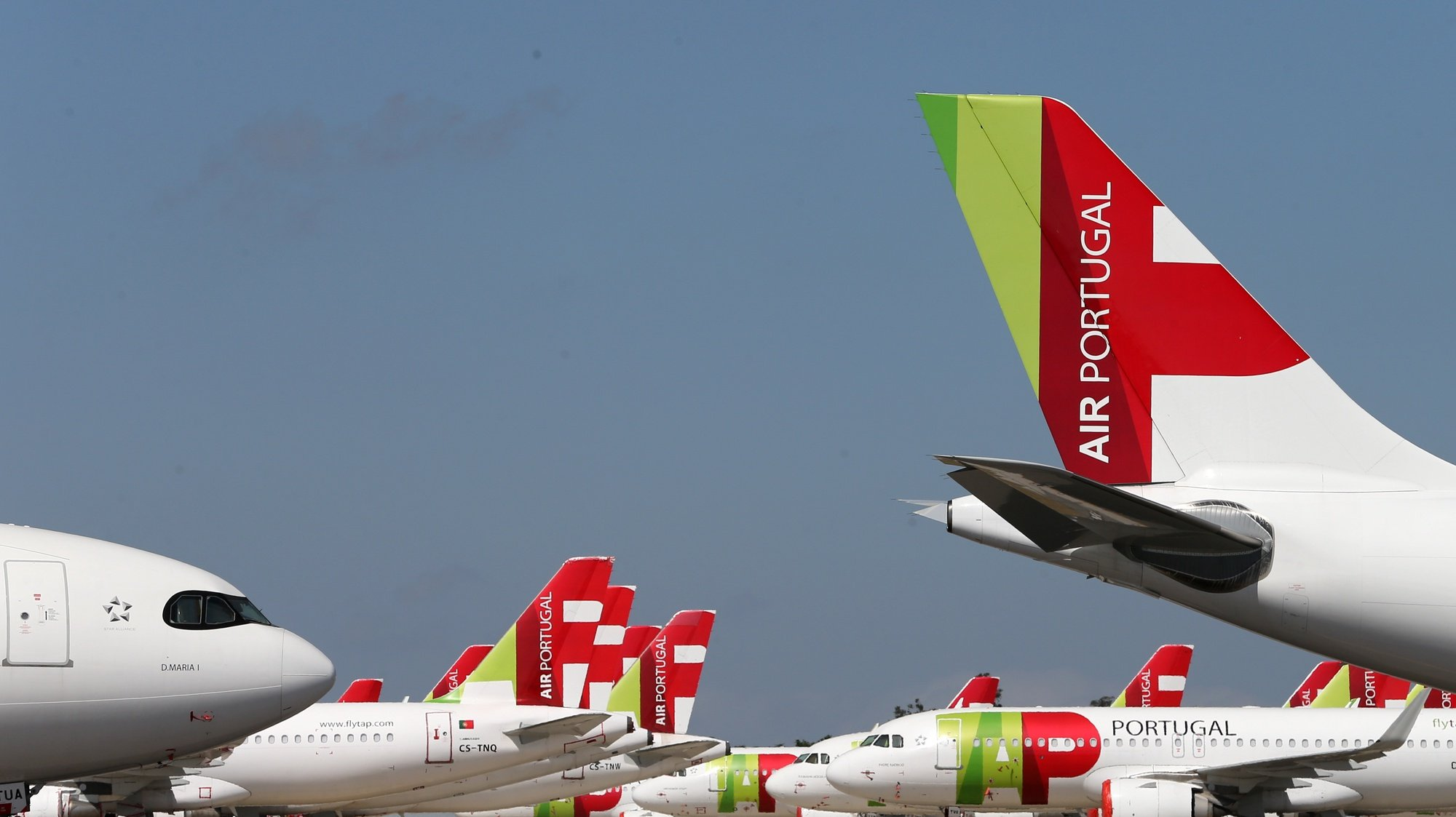 File photo dated from 09 April 2020 of TAP Air Portugal aircraft grounded at Humberto Delgado airport closed for passenger traffic as part of the exceptional traffic measures to combat the epidemiological situation of Covid-19, in Lisbon, Portugal, 09 April 2020 (reissued 02 July 2020). The granting of state support to TAP has been under discussion since the airline's activity came to a standstill because of the coronavirus pandemic, with an agreed injection of up to 1,200 million euros. MARIO CRUZ/LUSA