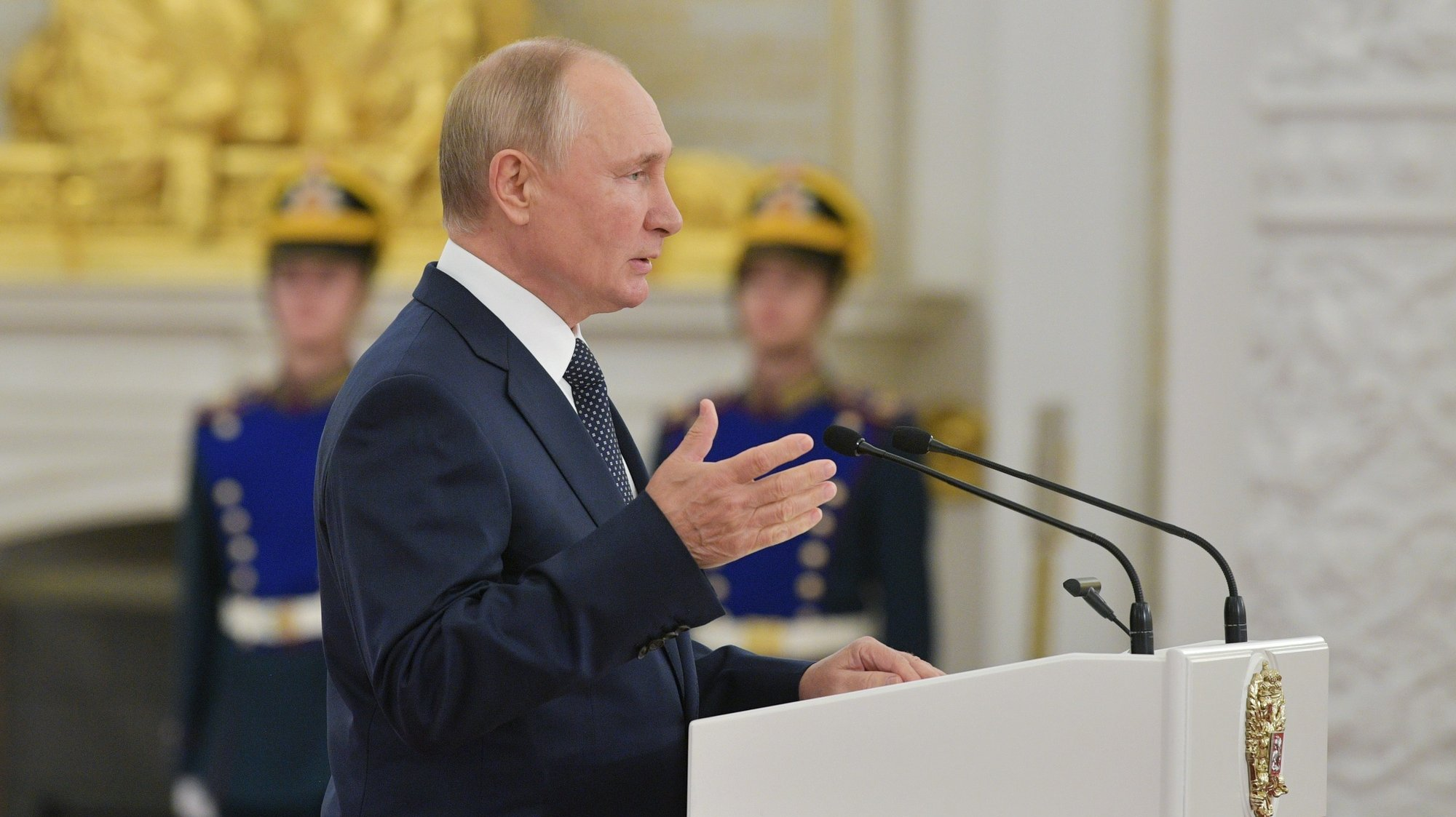 epa09461213 Russian President Vladimir Putin gives a speech during a meeting with Tokyo 2020 medalists at the Moscow Kremlin in Moscow, Russia, 11 September 2021. Summer Olympic Games were held from 23 July to 08 August in Japan. Russia won 71 medals: 20 gold, 28 silver and 23 bronze.  EPA/EVGENY BYATOV/SPUTNIK/KREMLIN POOL