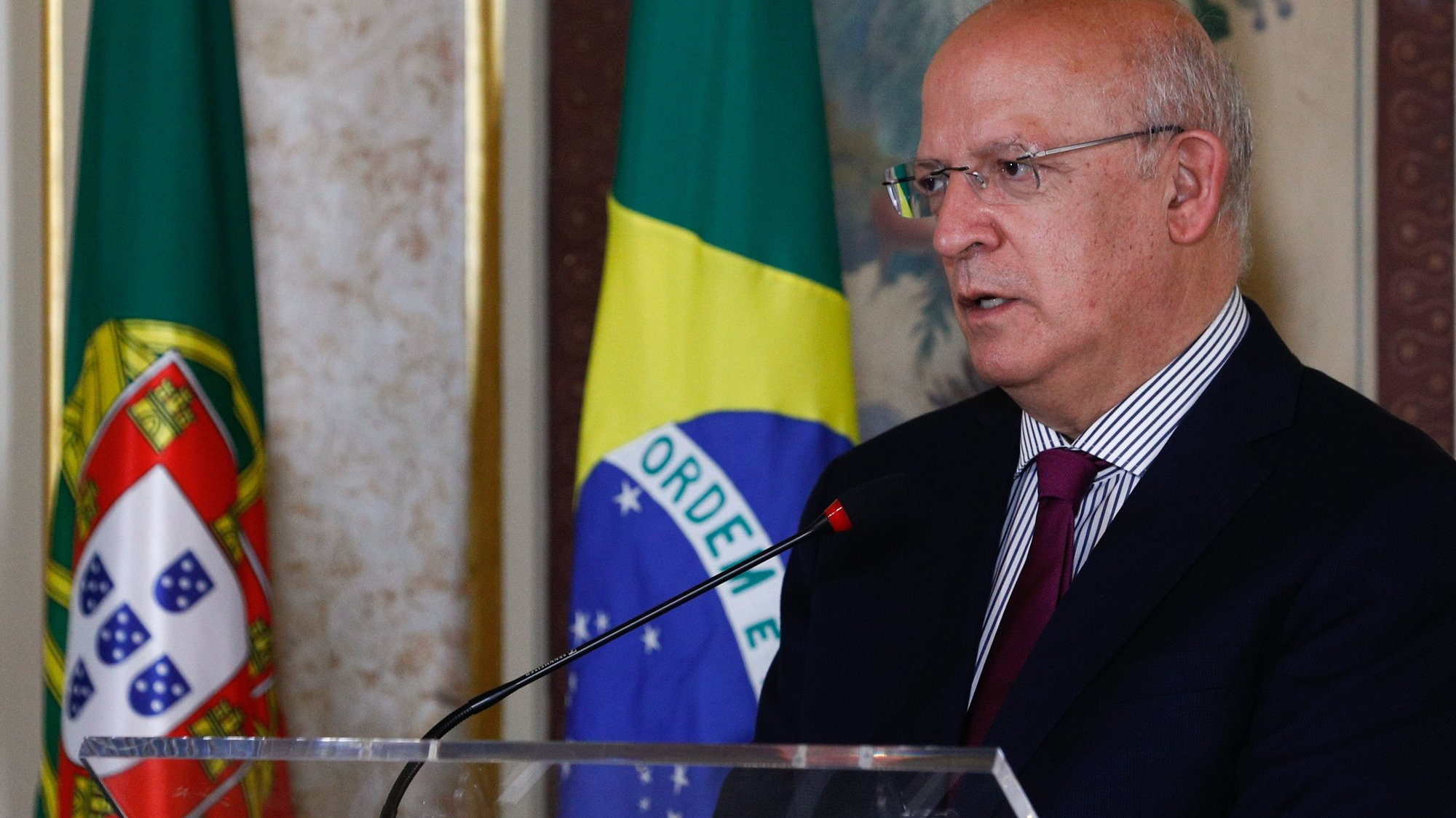 Portuguese Minister of State for Foreigner Affairs Augusto Santos Silva attends a press conference after a meeting with Brazilian Minister of Foreigner Affairs Carlos Franco Franca (not seen) at the Necessidades Palace in Lisbon, Portugal, 02 July 2021.  ANTONIO COTRIM/LUSA