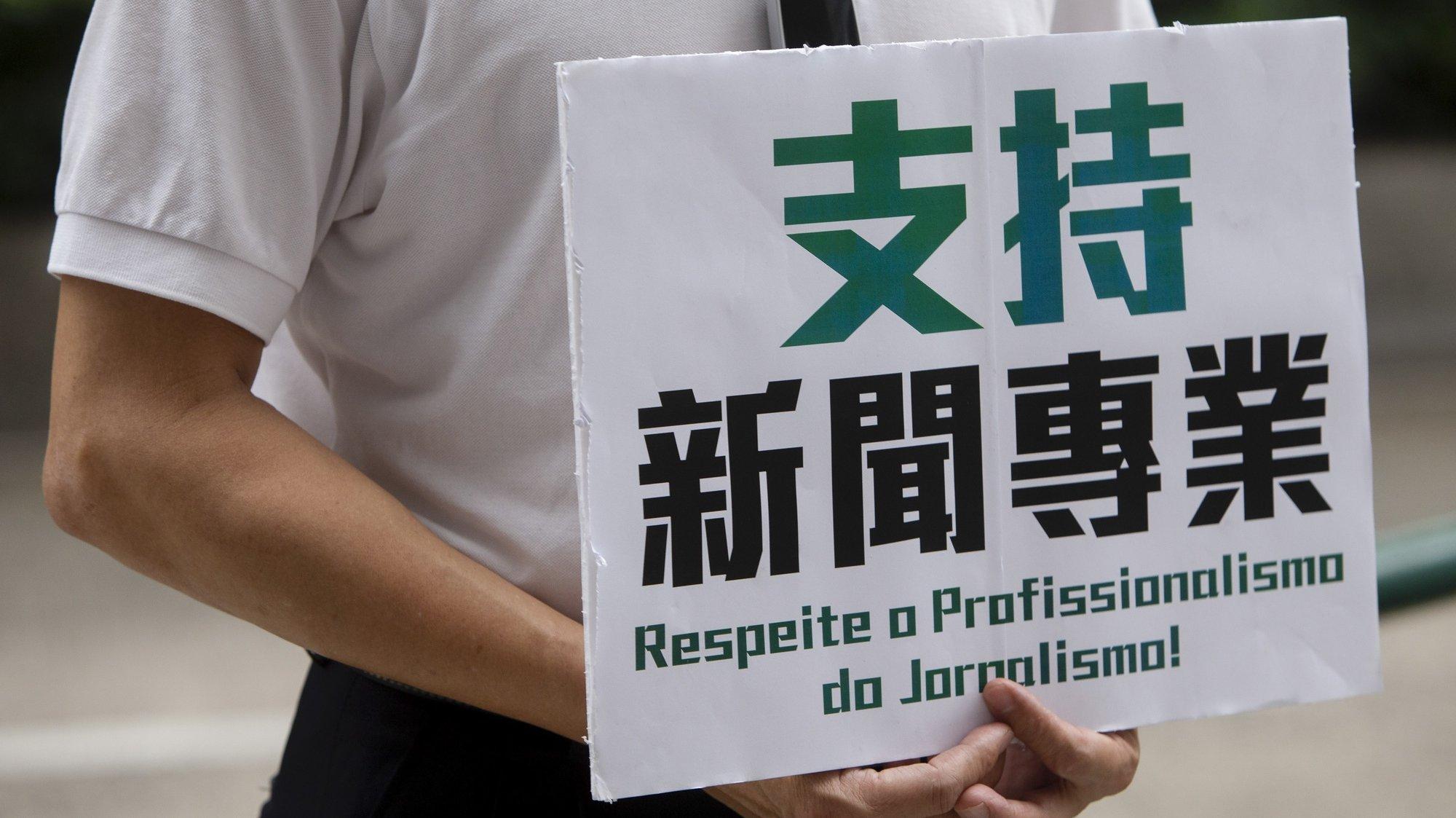 Manifestaçõa de apoio à liberdade de imprensa em Macau, frente às instalações da TDM. Macau, China, 4 de Abril de 2021, CARMO CORREIA/LUSA