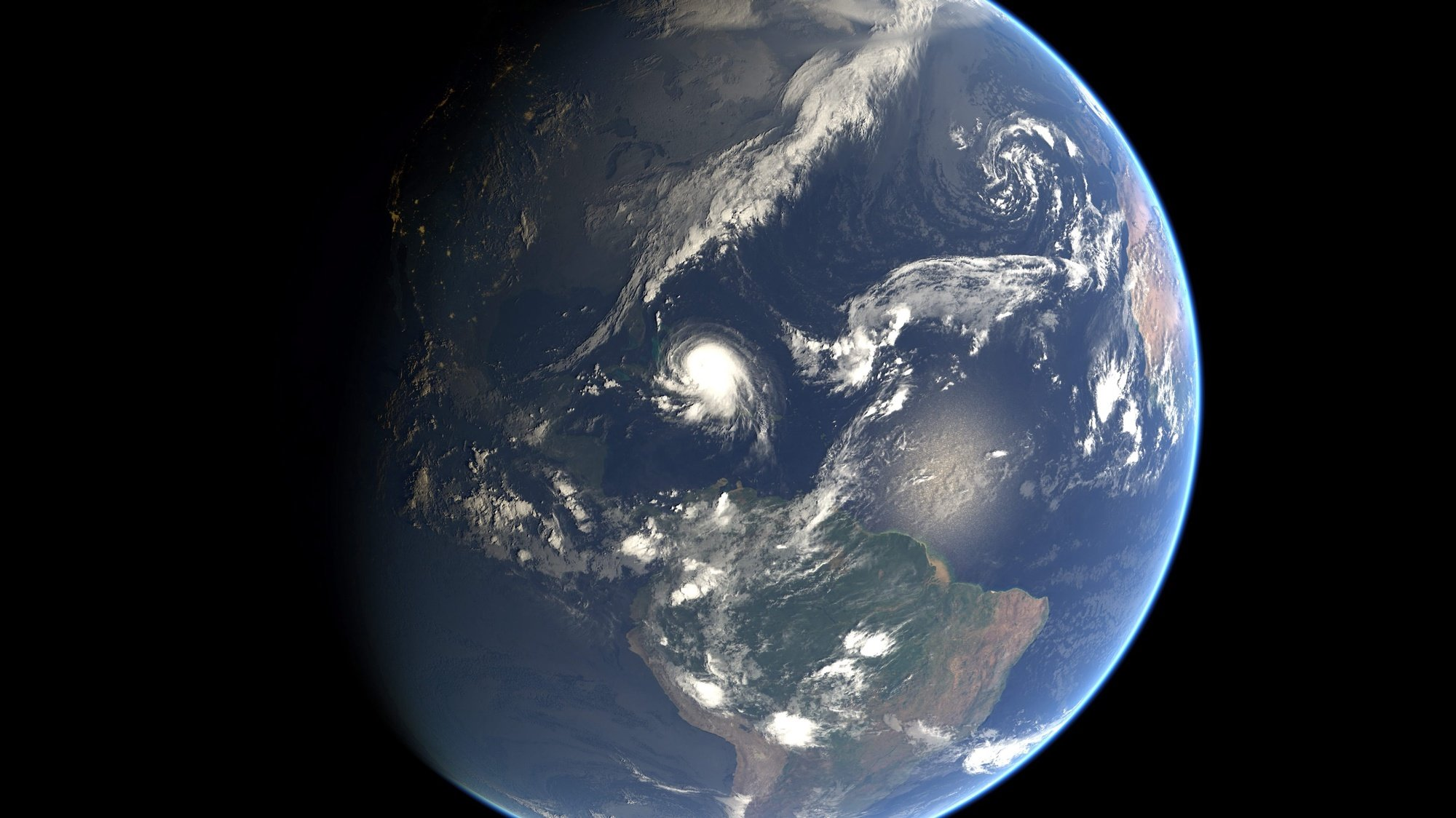 epa04958976 A handout photo provided by EUMETSAT on 01 Octover 2015 of category 3 Hurricane Joaquin (C) taken at 12:00 UTC on Thursday, 01 October 2015 by an Eumetsat satellite. Hurricane Joaquin was packing sustained winds of 195 kilometres per hour as of 8 am (1200 GMT) on 01 October to the US National Hurricane Centre in Miami, as it threatened to change course towards the Bahamas. Joaquin, a category 3 storm situated around 120 kilometres south-west of San Salvador in the Bahamas, is currently moving west southwest at seven kilometres per hour.  EPA/EUMETSAT MANDATORY CREDIT: EUMETSAT HANDOUT EDITORIAL USE ONLY/NO SALES