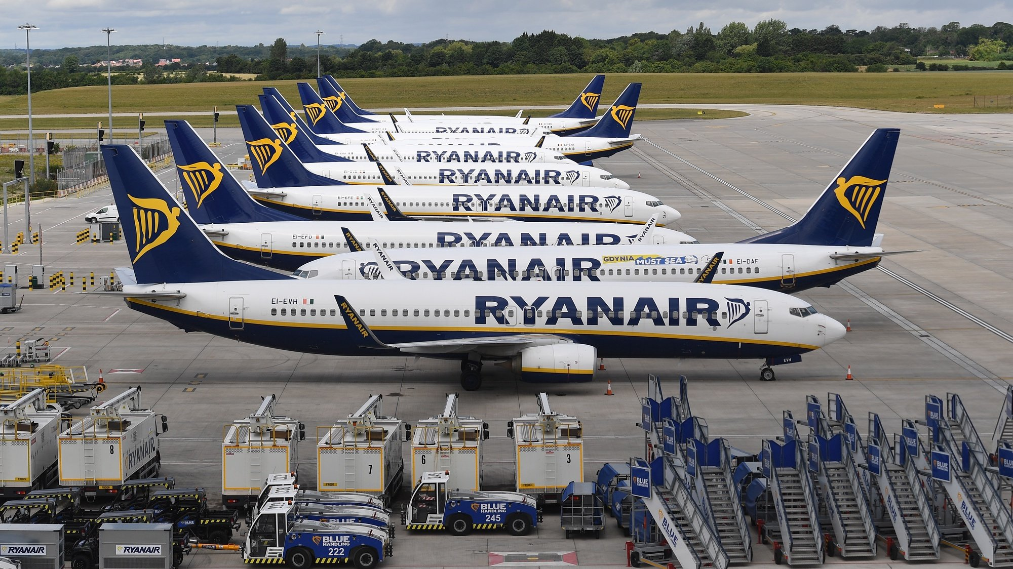 epa08520273 Ryanair aircraft at Stansted Airport in London, Britain, 01 July 2020. The UK government is set to announce that it is to form so called 'air bridges' with other countries so that people can go on holiday this summer. The global travel industry has been hit hard by four months of lockdown. Countries around the world are taking increased measures to stem the widespread of the SARS-CoV-2 coronavirus which causes the Covid-19 disease.  EPA/ANDY RAIN