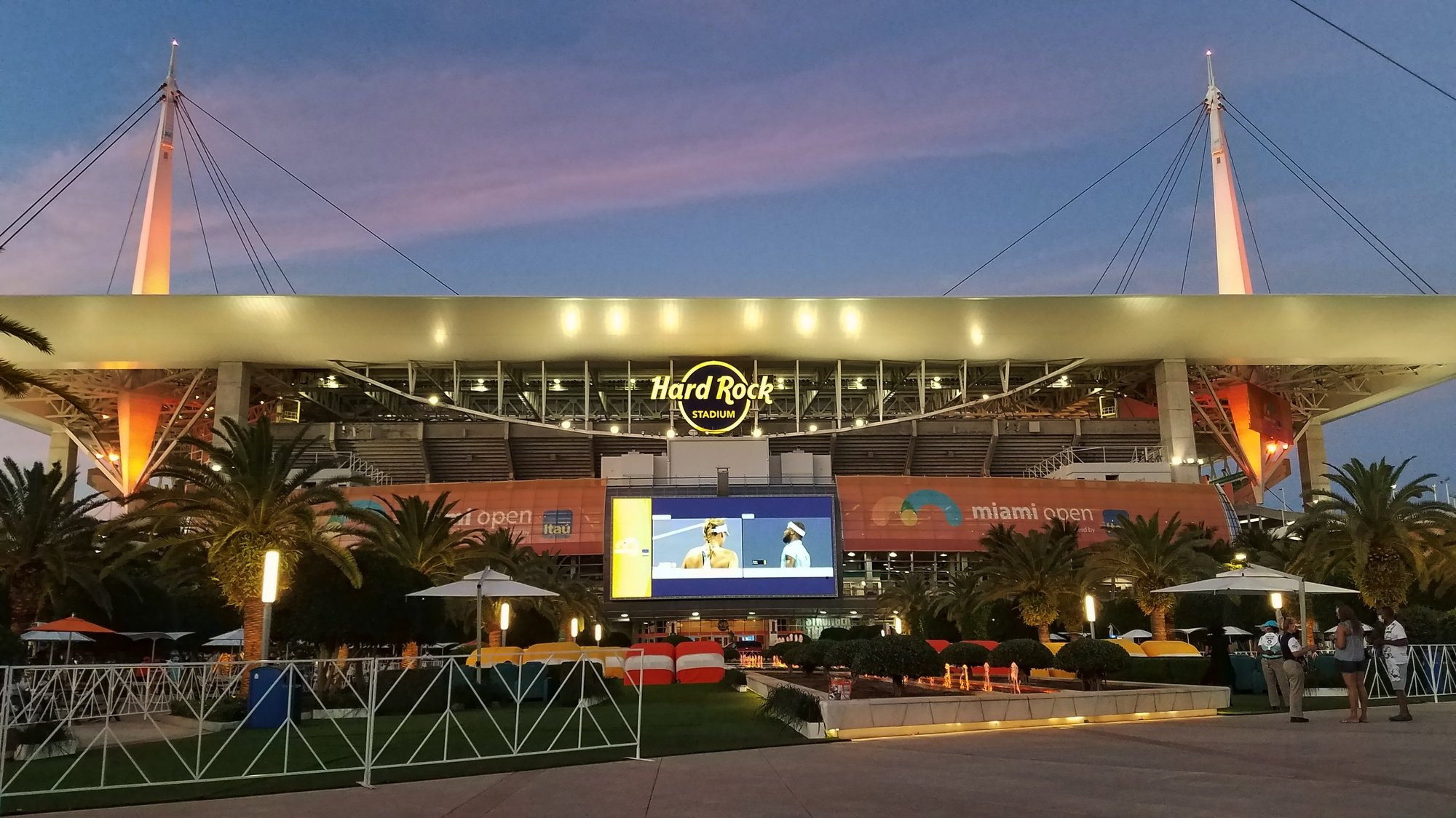 epa09142647 (FILE) - Exterior view of the Hard Rock Stadium at sunset during the Miami Open tennis tournament in Miami Gardens, Florida, USA, 26 March 2021 (re-issued on 18 April 2021). On 18 April 2021 Formula One organizers announced that the new Miami Grand Prix will join the F1 calendar in 2022. The race will be held on a new circuit at the Hard Rock Stadium complex in Miami Gardens.  EPA/RHONA WISE *** Local Caption *** 56790123