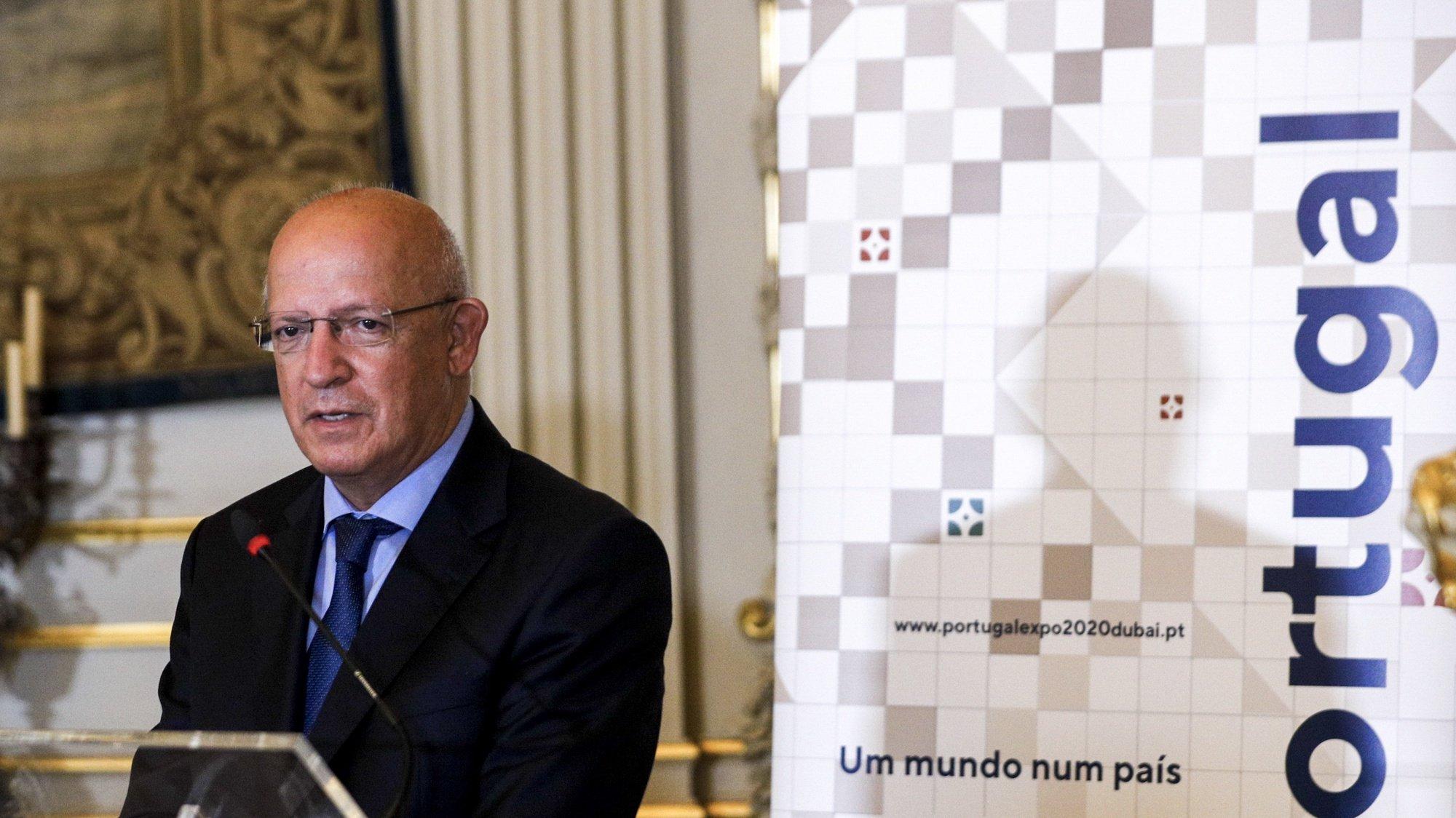 O ministro de Estado e dos Negócios Estrangeiros, Augusto Santos Silva, intervem durante a cerimónia de apresentação da programação portuguesa na Expo 2020 Dubai, Lisboa, 27 de setembro de 2021. ANTÓNIO COTRIM/LUSA