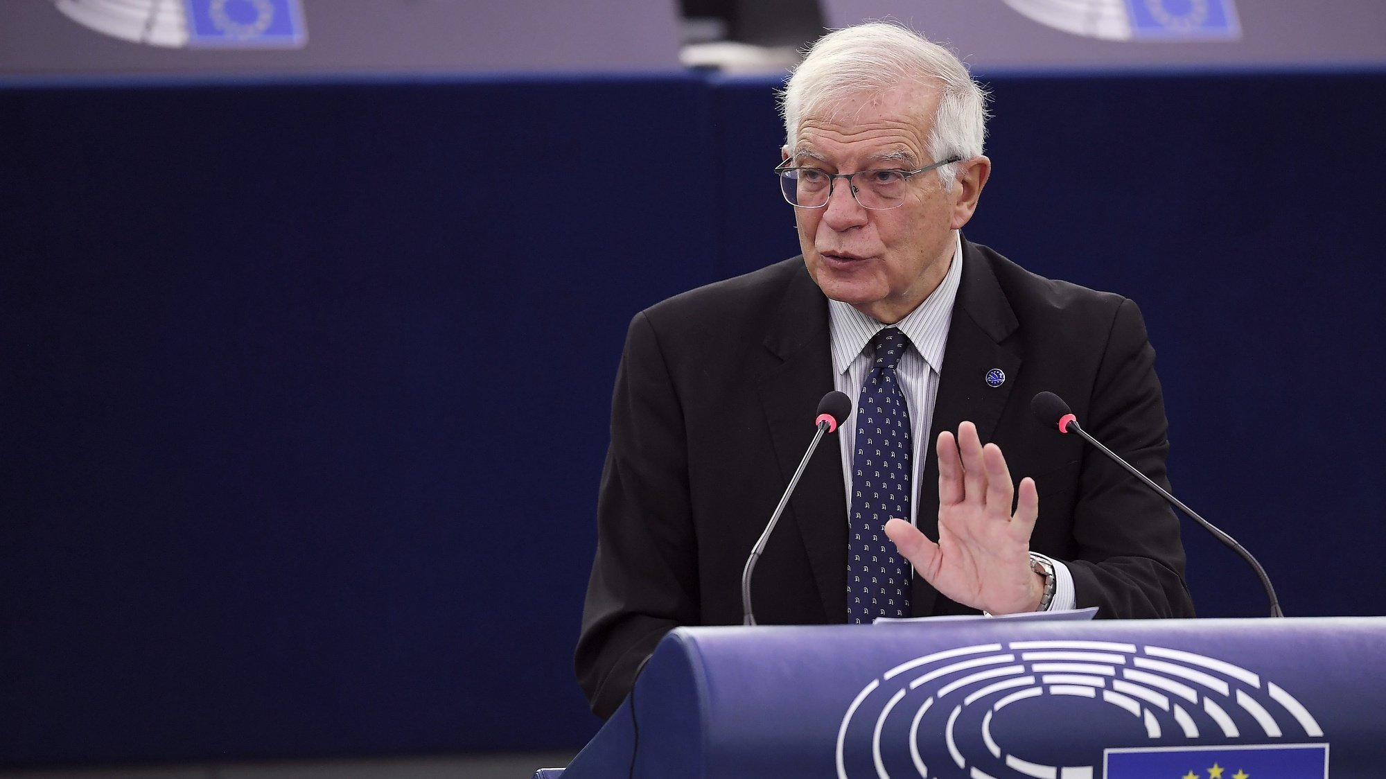 epa09506548 European Union High Representative for Foreign Affairs and Security Policy Josep Borrell delivers a speech during a debate on the future of EU-US relations as part of a plenary session at the European Parliament in Strasbourg, France, 05 October 2021.  EPA/FREDERICK FLORIN / POOL