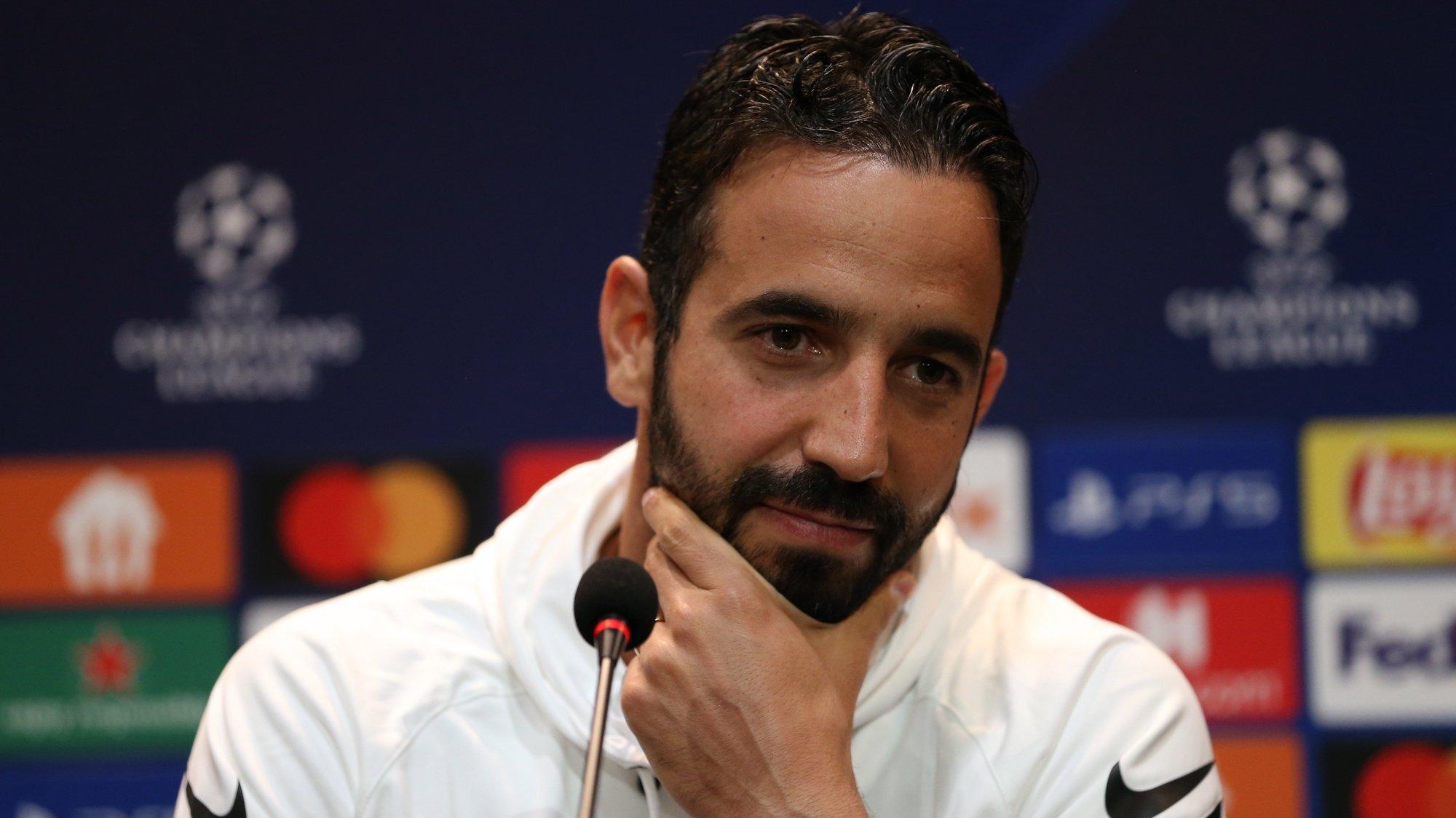 Treinador do sporting, Rúben Amorim, numa conferência de imprensa em Instambul, Turquia, 18 de outubro 2021.