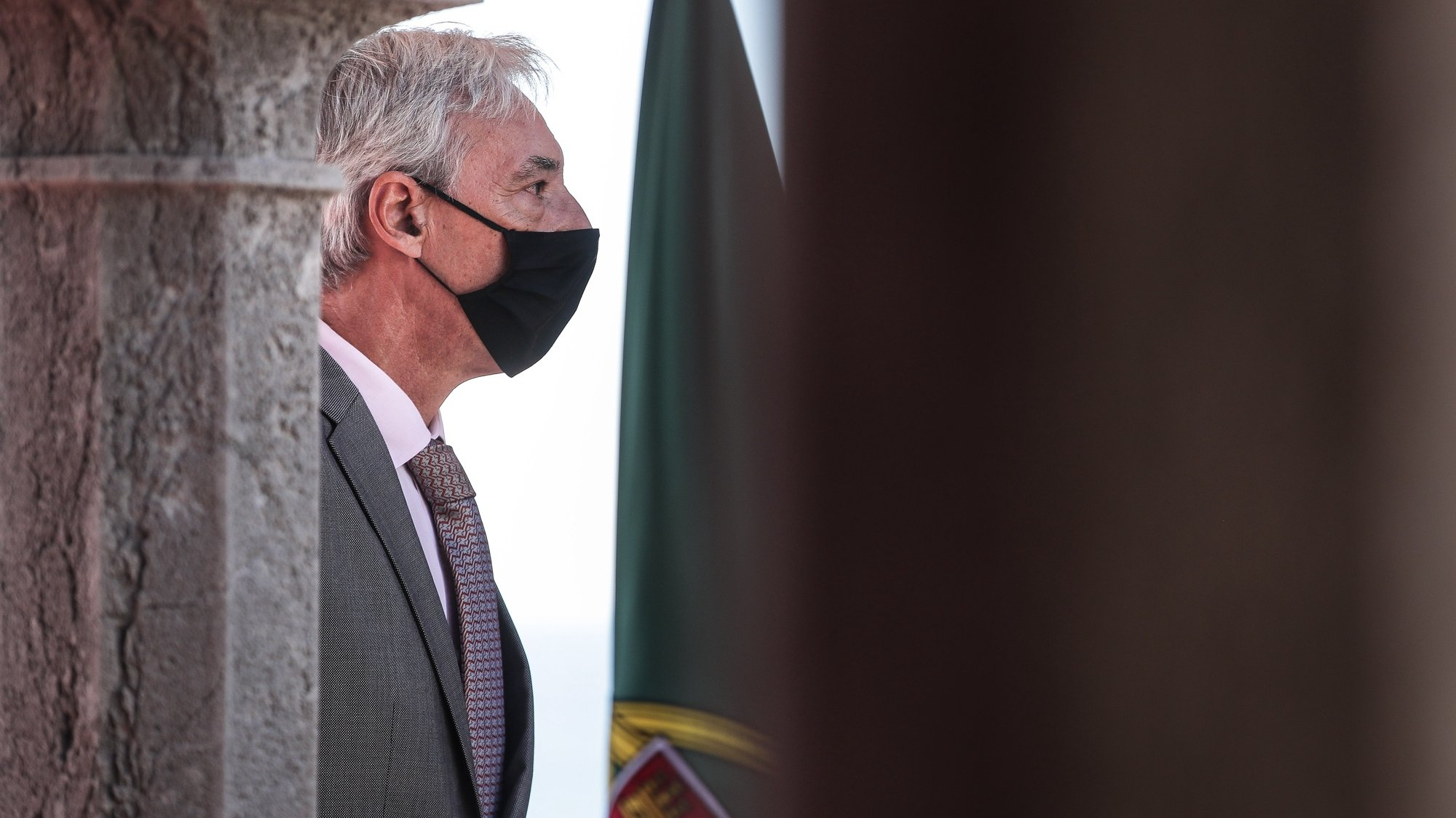 Portugal's Defense Minister Joao Gomes Cravinho talks to the press after a meeting with Greece's Defense Minister Nikolaos Panagiotopoulos (not pictured) at Sao Juliao da Barra Fort, in Oeiras, Portugal, 12 October 2020.MÁRIO CRUZ/LUSA
